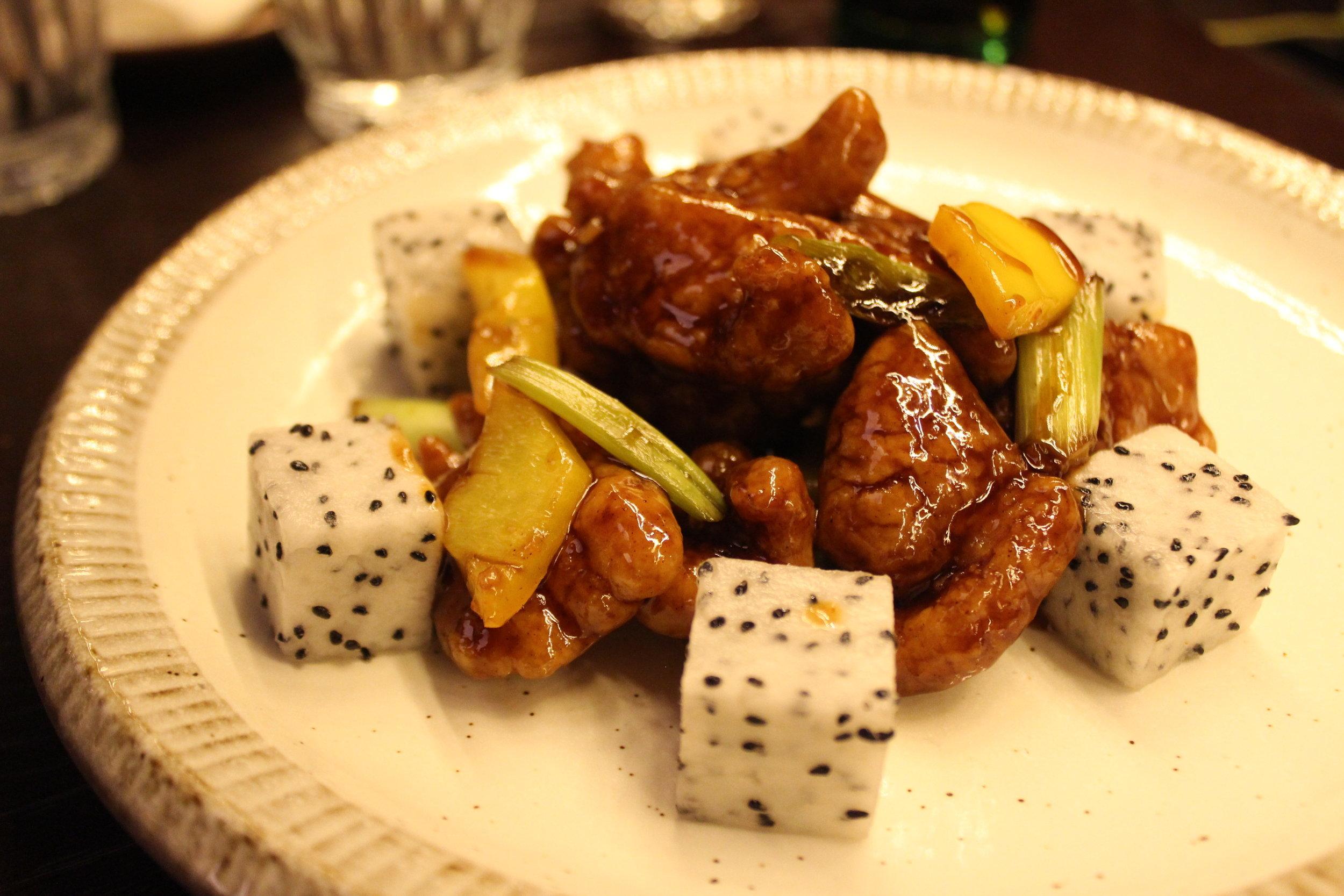 Sweet & Sour Pork, Dragon Fruit, Aged Black Vinegar