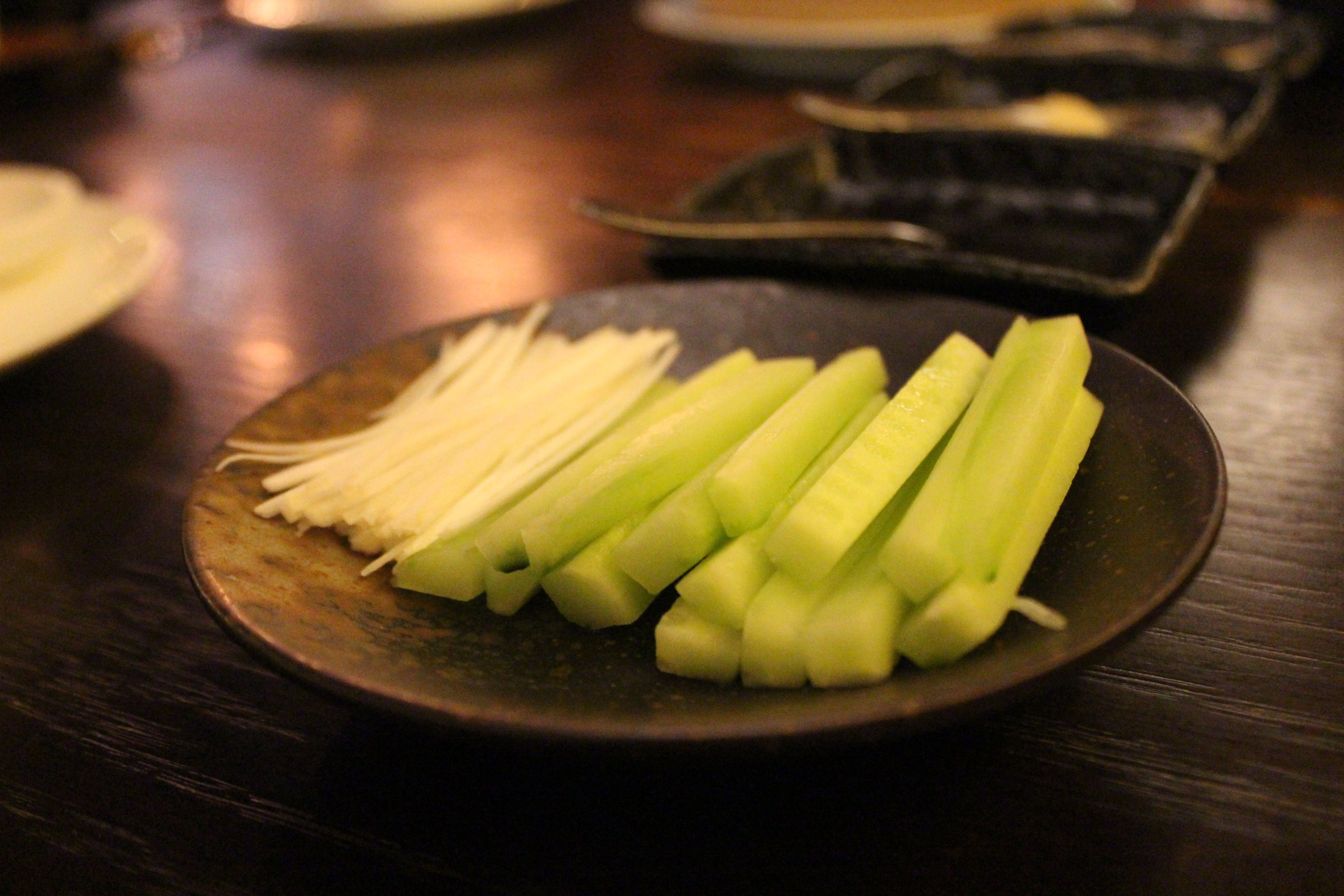 Cucumber and Leek for Apple Wood Roasted 42 Days Peking Duck at Mott 32 in Hong Kong