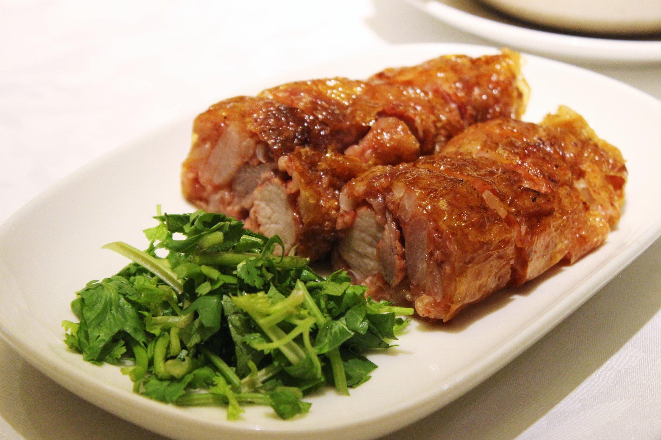 Deep Fried Pork Roulade with Coriander & Hai-San Sauce 五香雞卷