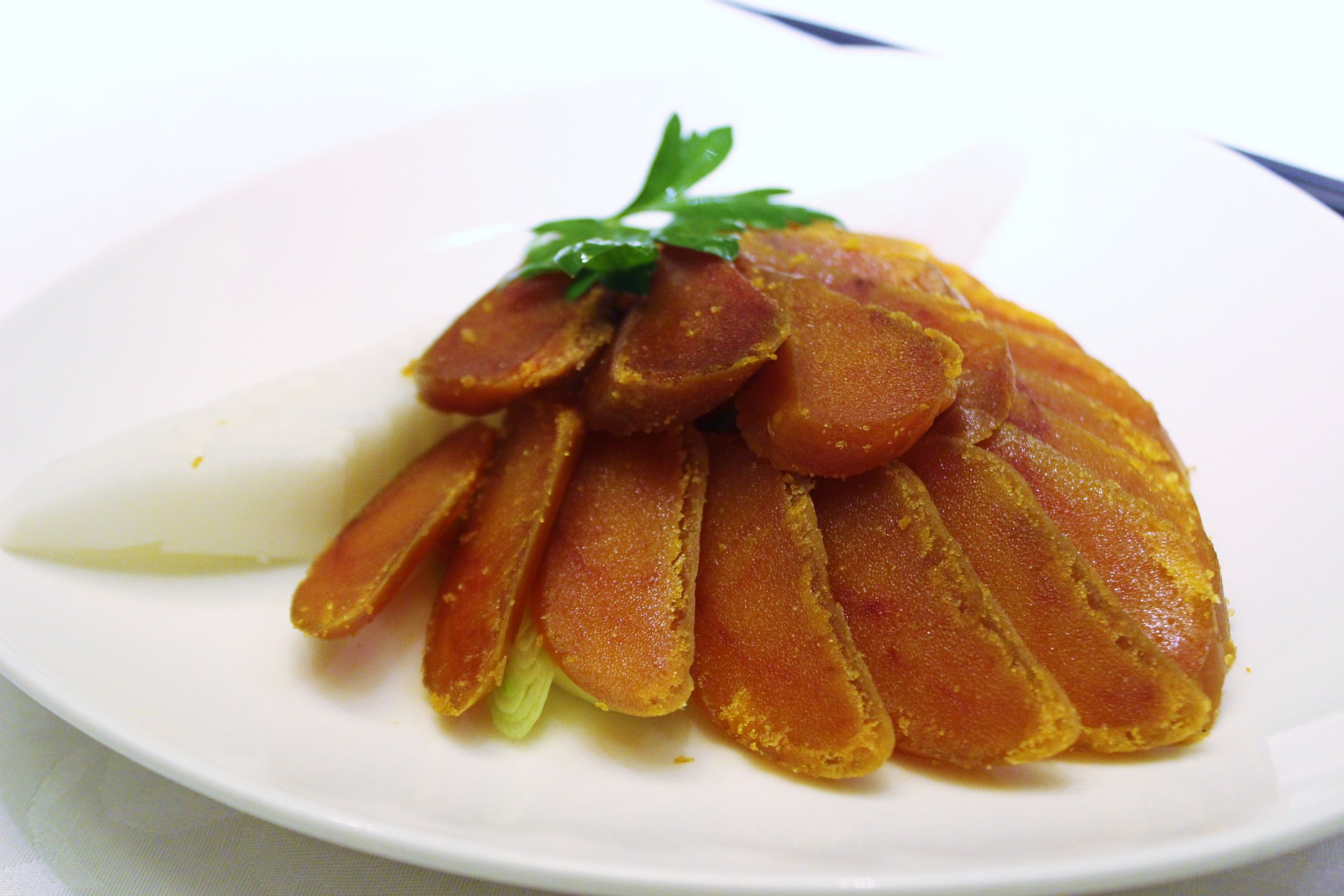 Roasted Mullet Roe with Turnip & Leek 香烤烏魚子 at 欣葉 in Taiwan