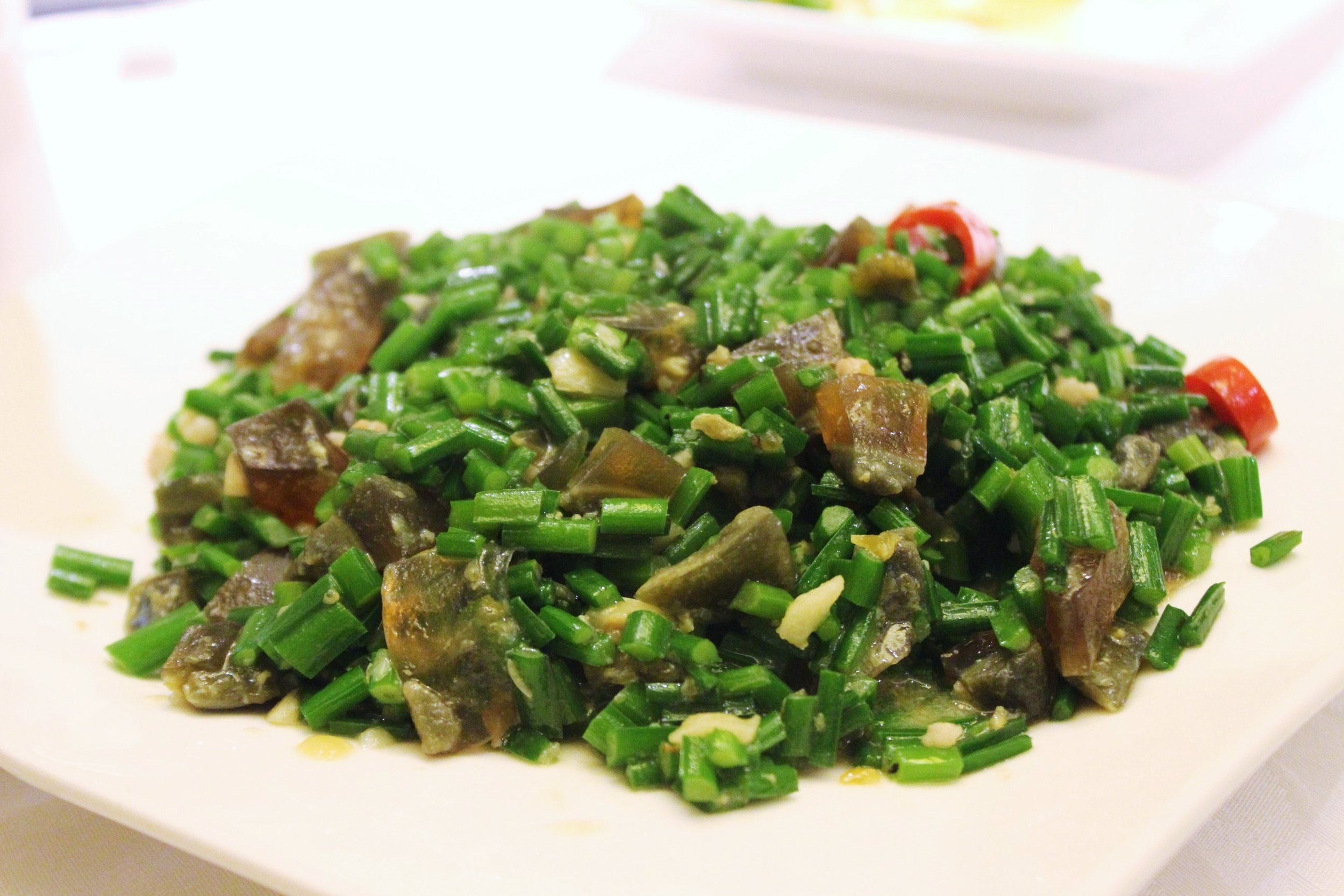 Sautéed chives with century eggs 韭菜松花炒 at 欣葉 in Taiwan
