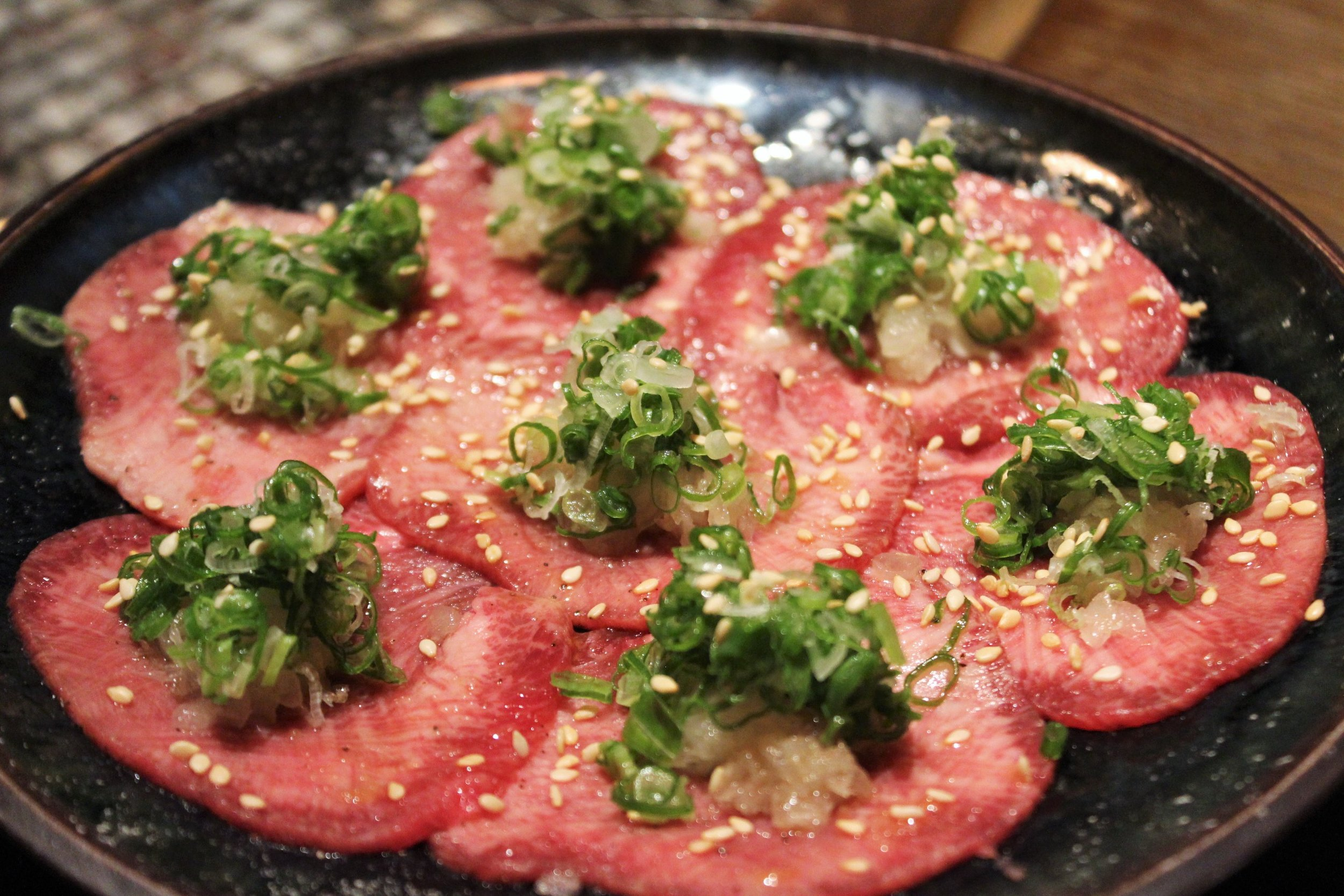 Beef Tongue with Onion, Scallions, Sesame Seeds