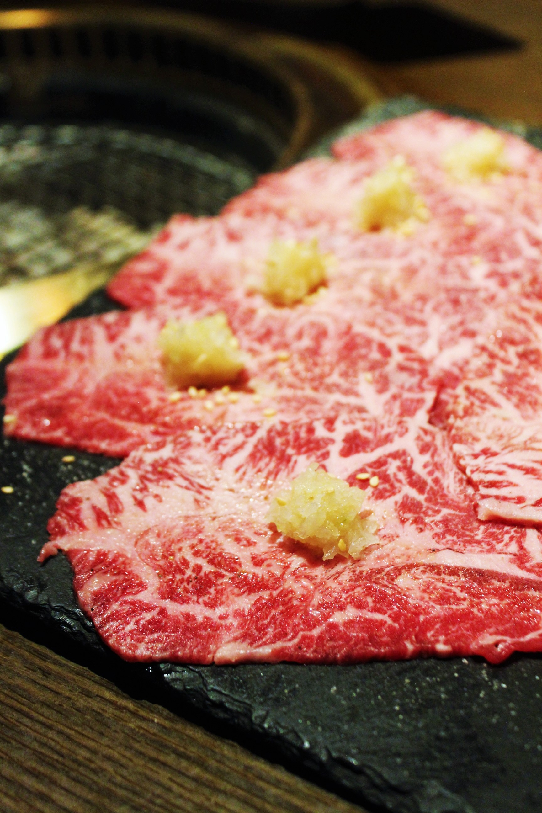 Wagyu Beef Shoulder Marinated in Sweet Soy with Grated Radish and Onion at 大腕 in Taiwan