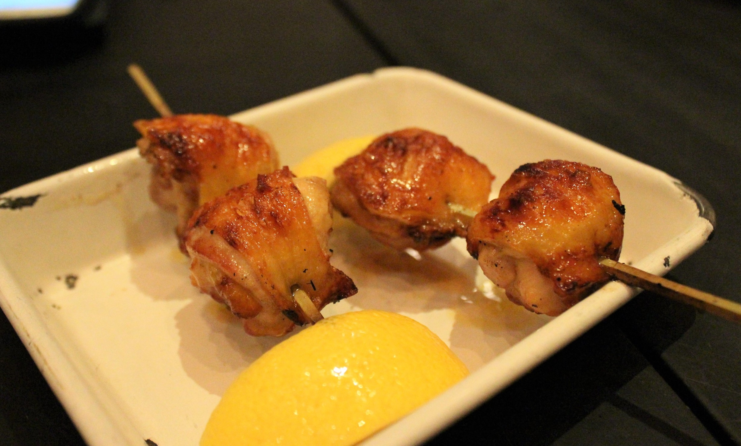 Chicken Oyster Yakitori with Sea Salt and Lemon