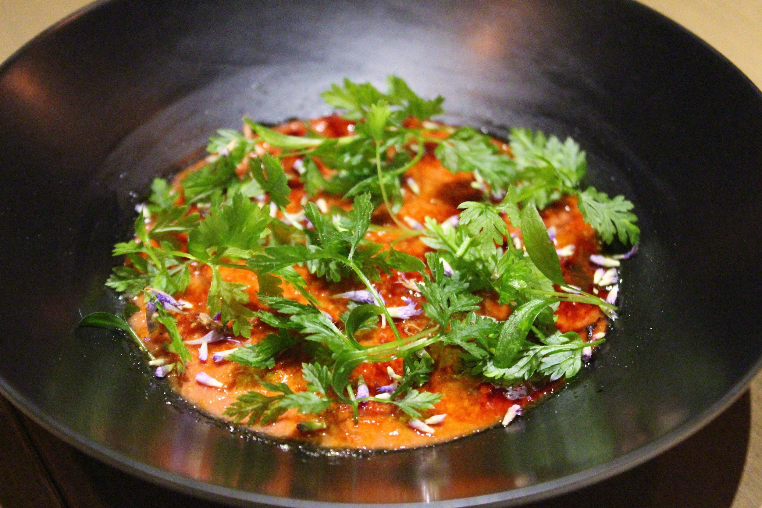 Liver Brûlée: Chicken Liver Parfait, Seasonal Herbs