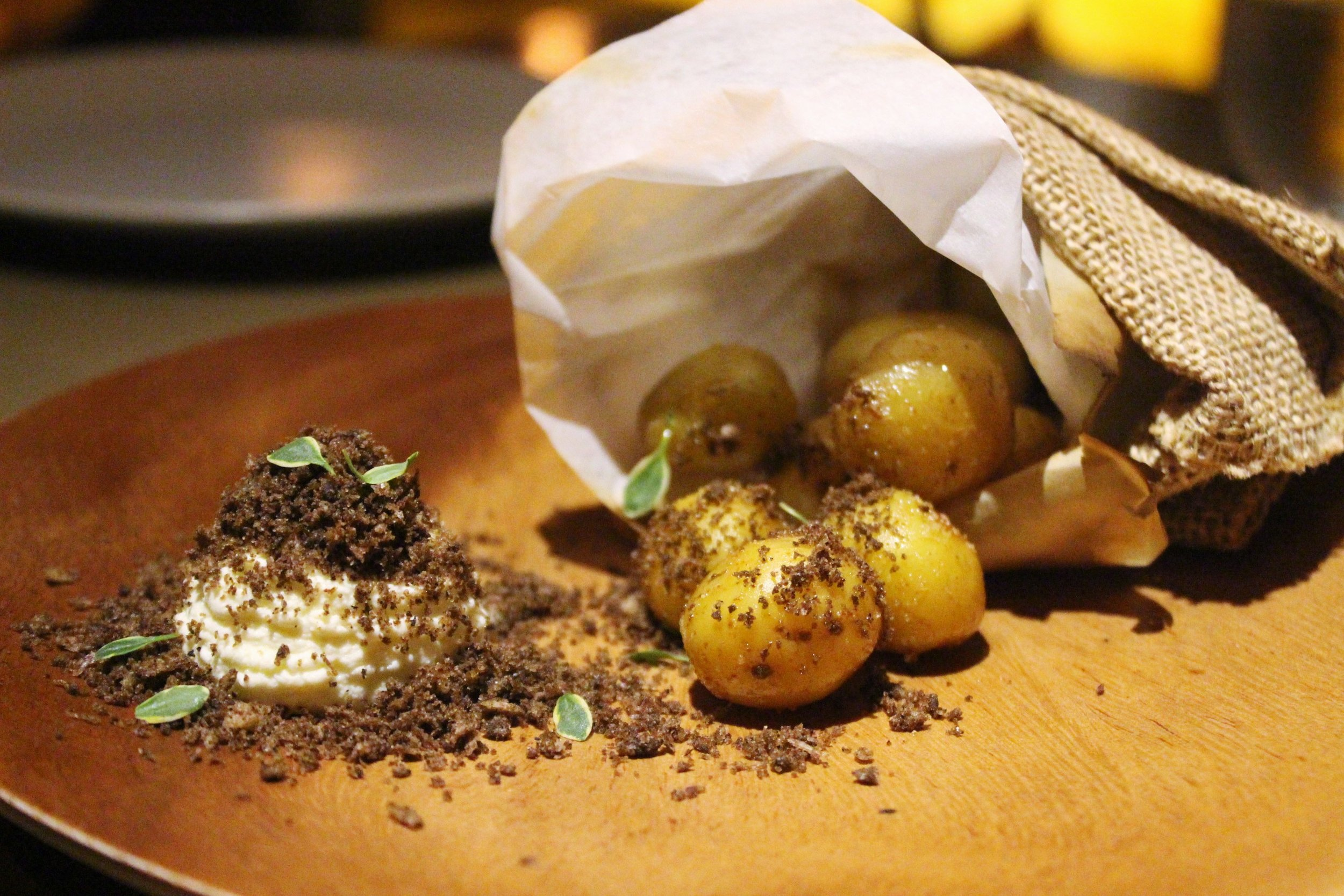 Baby Potato with Mushroom Crumble and Cultured Cream