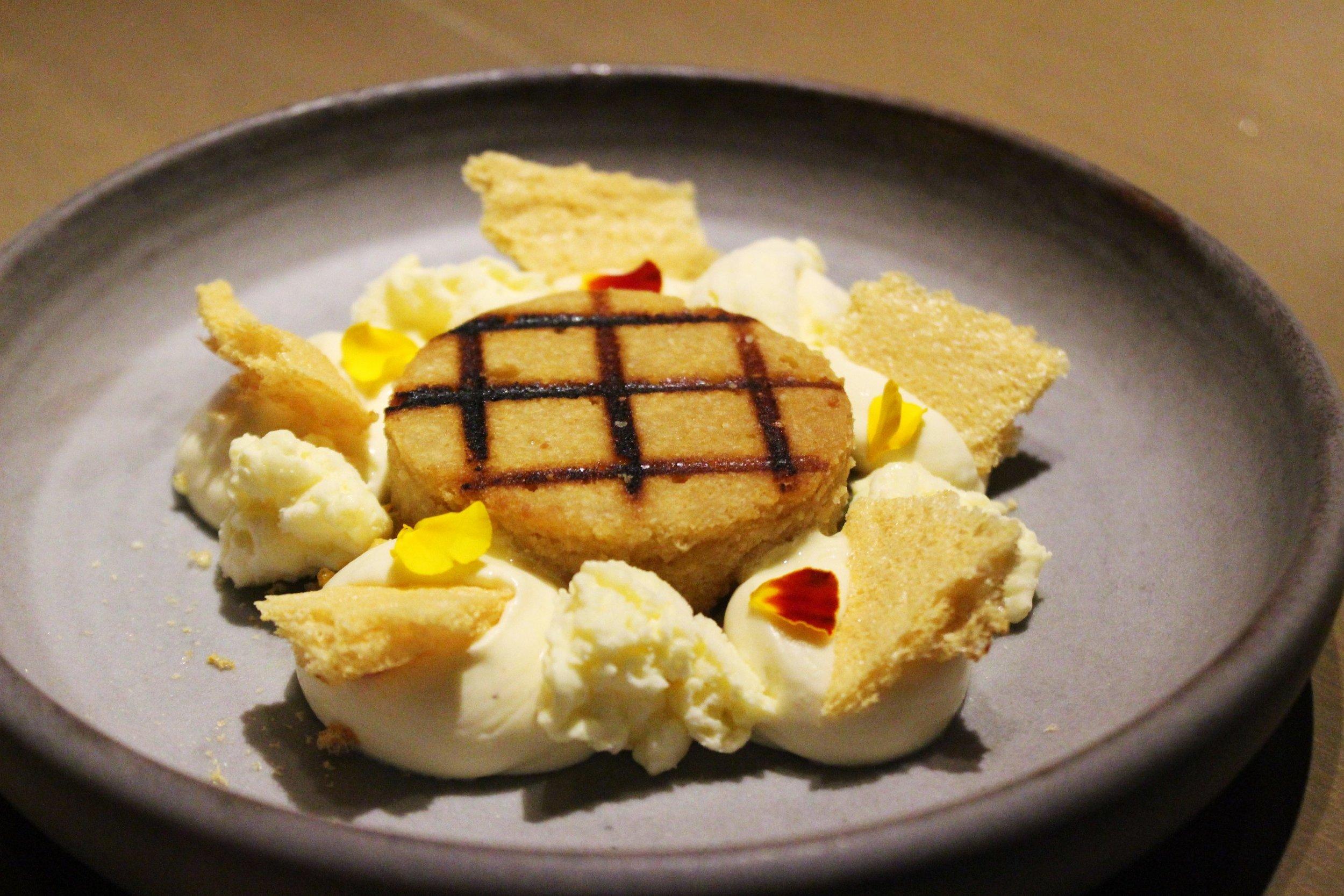 Passion Fruit, Grilled Financier, Jasmine Mascarpone, Honeycomb