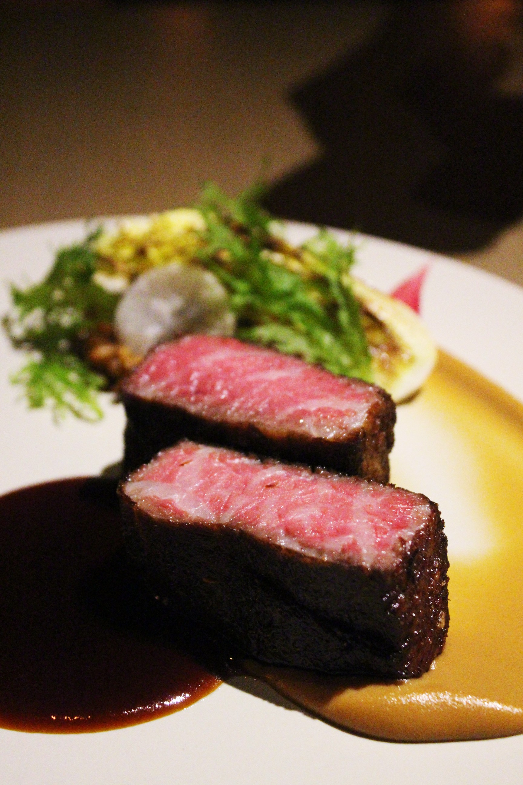 Beef Shortrib Pastrami with Spices, Local Grains, Baby Napa Cabbage at Mume in Taiwan