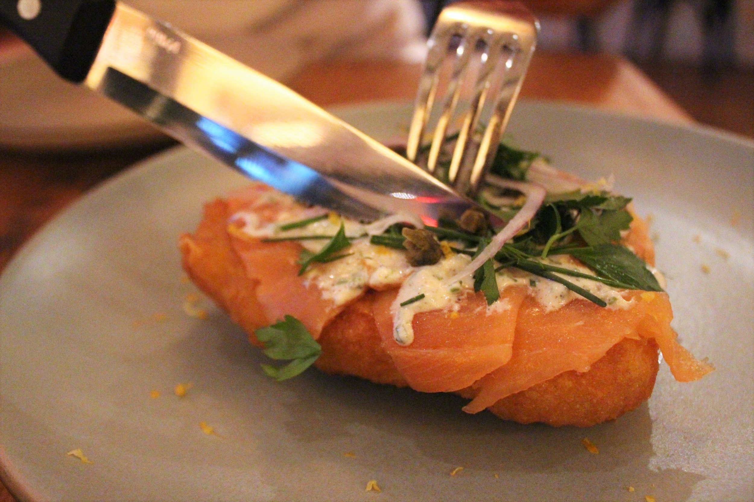 Hungarian Potato Fry Bread: Smoked Salmon, Kefir Ranch, Crispy Caper, Fresh Herbs