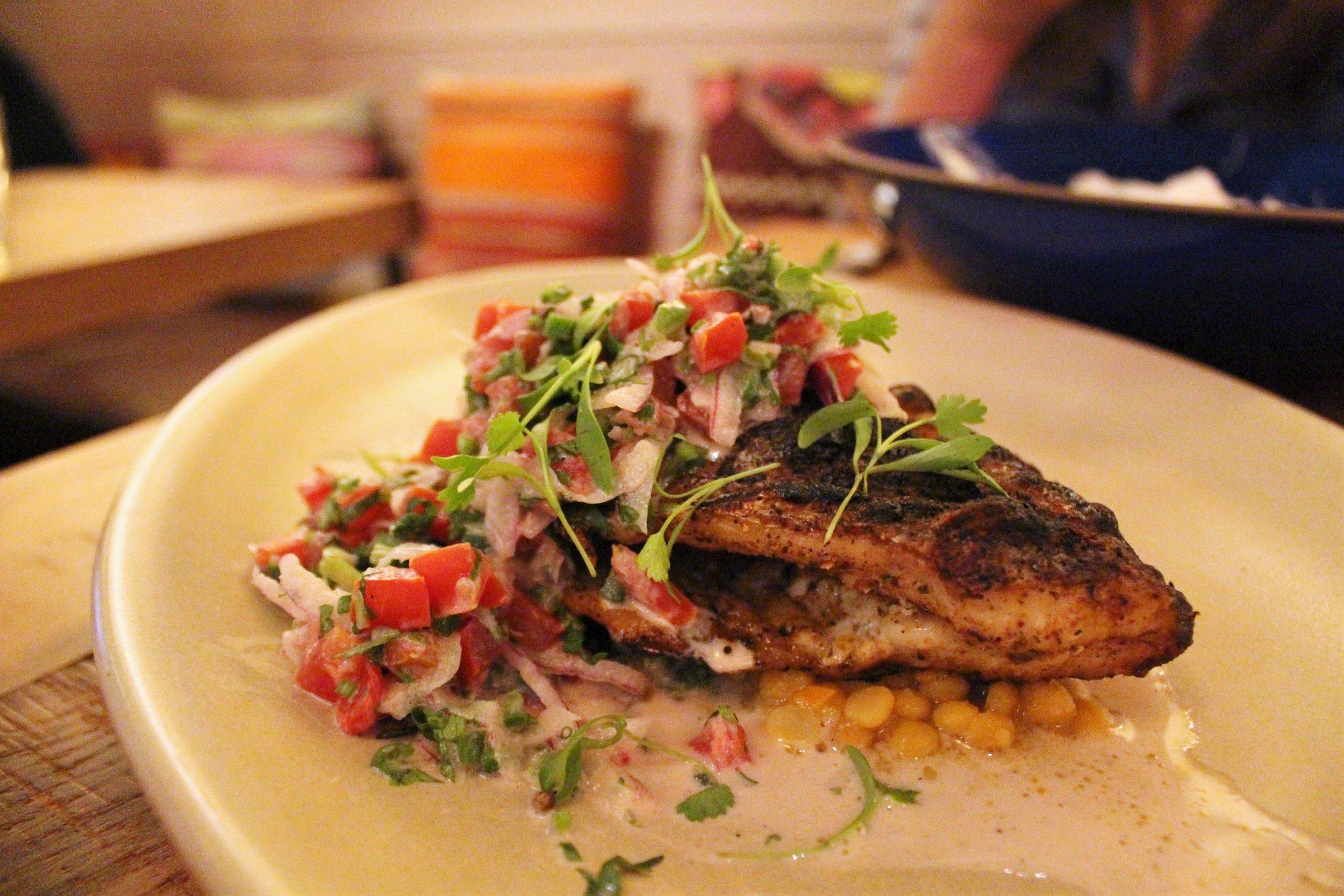 Whole Daily Fish: Grecian Dorade, Chana Dal Indian Yellow Lentil, Ajwain, Charred Garlic Yogurt Pico De Gallo