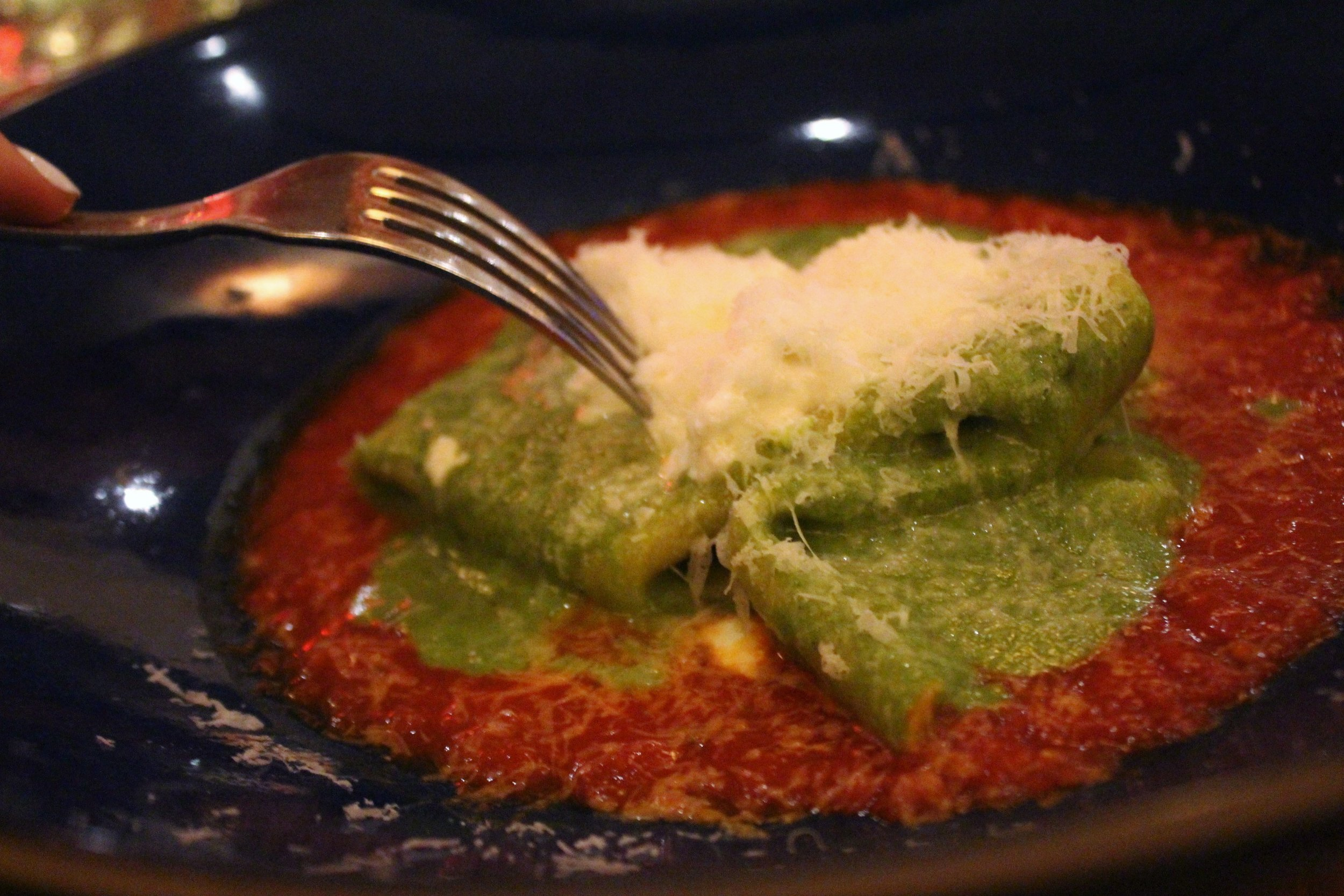 Mandilli: Folded Pasta Sheet, Basil Almond Pesto, Housemade Ricotta, San Marzano Sugo at Covina