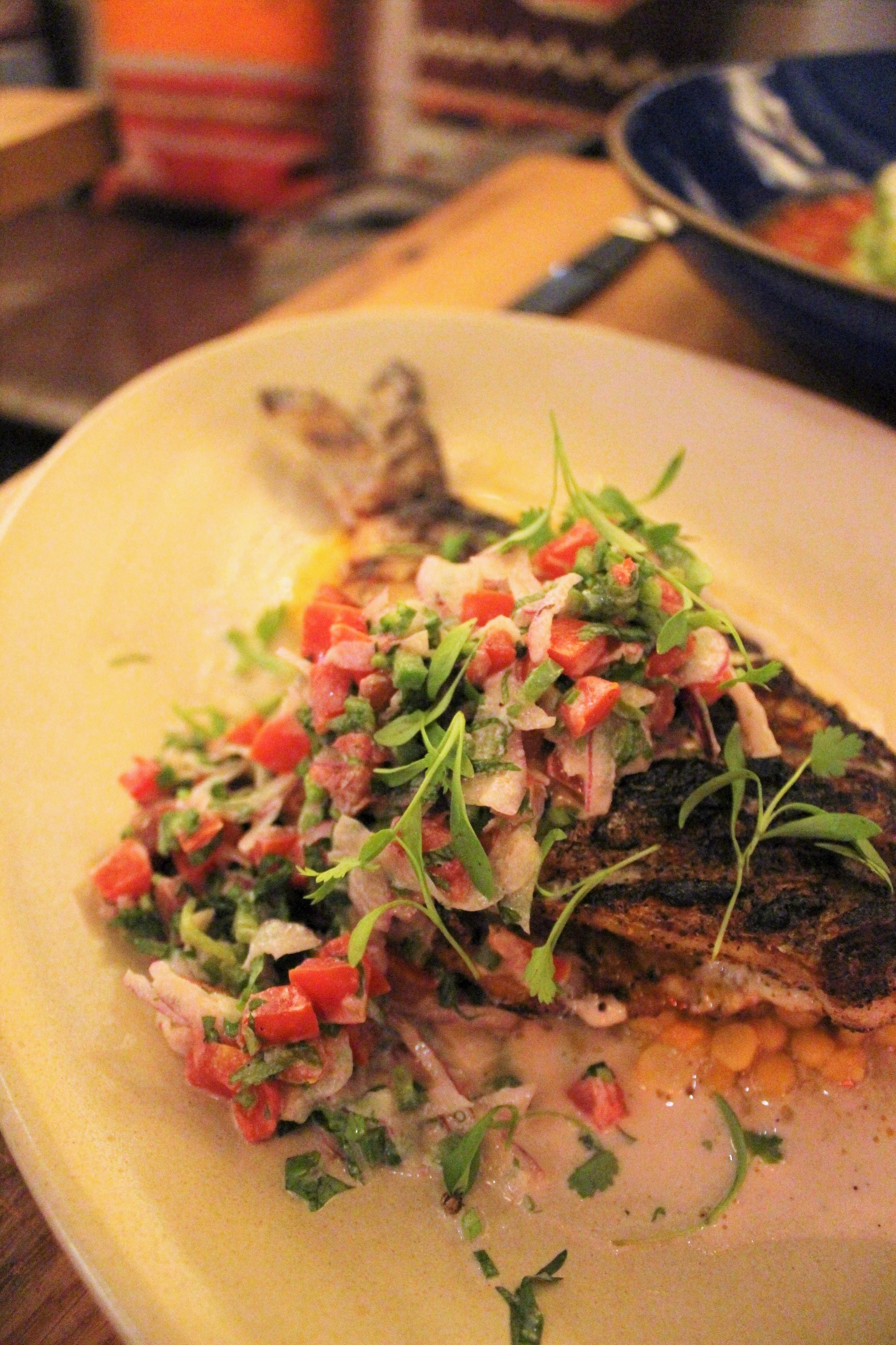Whole Daily Fish: Grecian Dorade, Chana Dal Indian Yellow Lentil, Ajwain, Charred Garlic Yogurt Pico De Gallo at Covina