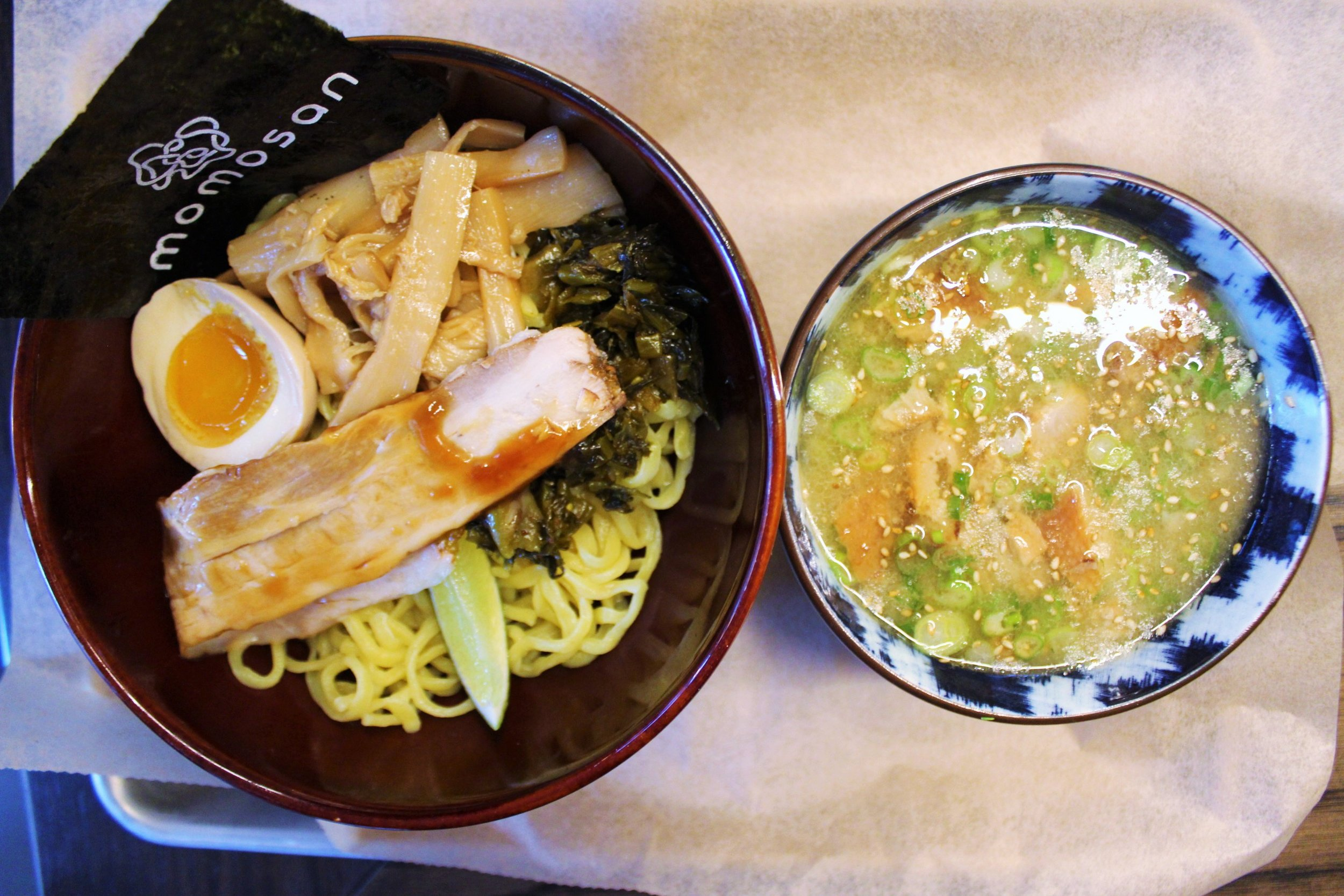 Tsukemen: Tonkotsu Soup, Pork Chashu, Aji-tama, Menma, Takana, Toasted Nori, Garlic Oil, Soy Tare, Lime at Momosan