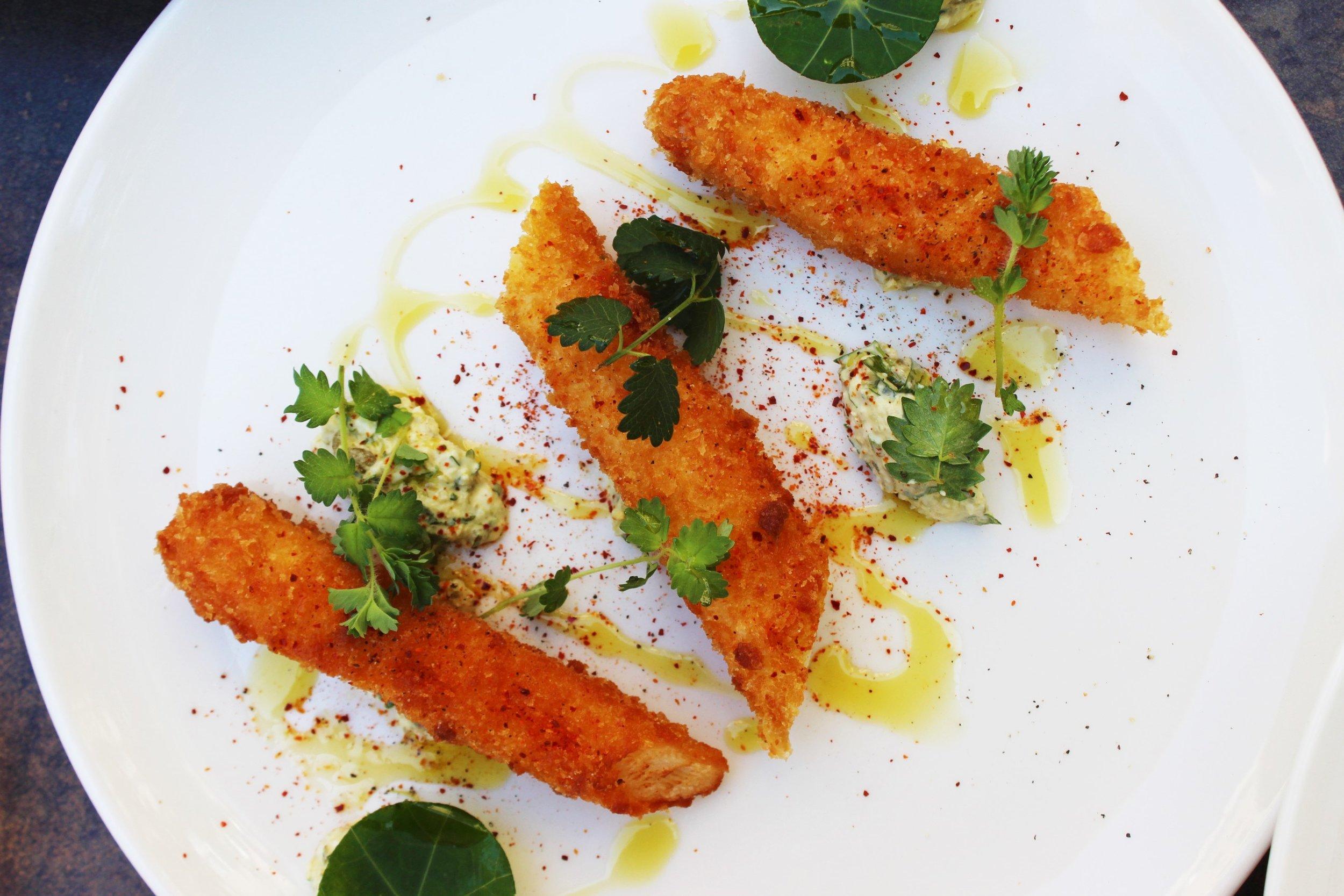 Breaded White Asparagus, Gribiche
