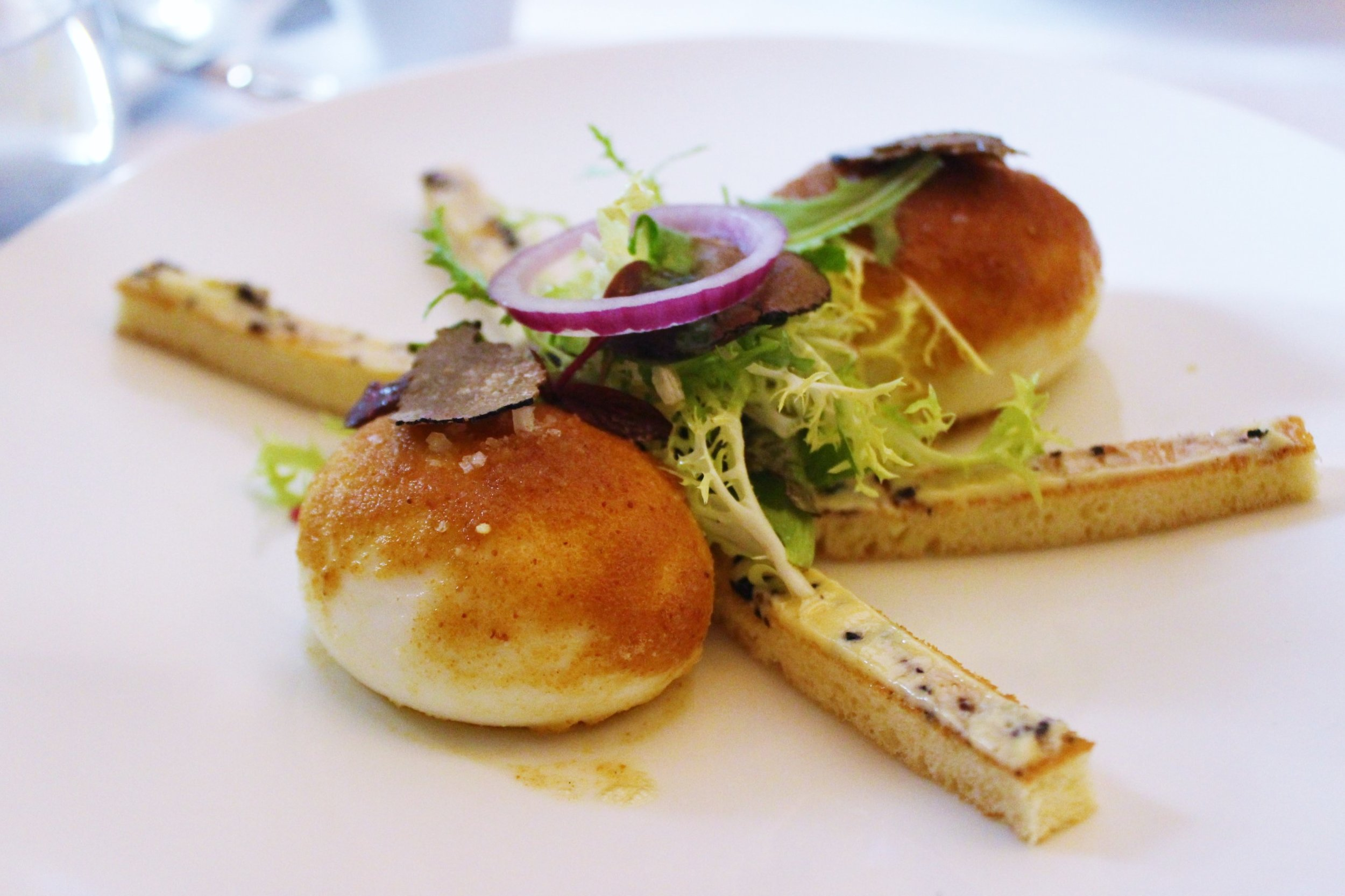 Soft-Boiled Eggs rolled in Breadcrumbs, Truffled Butter Toasts at Le Violon D'Ingres in Paris