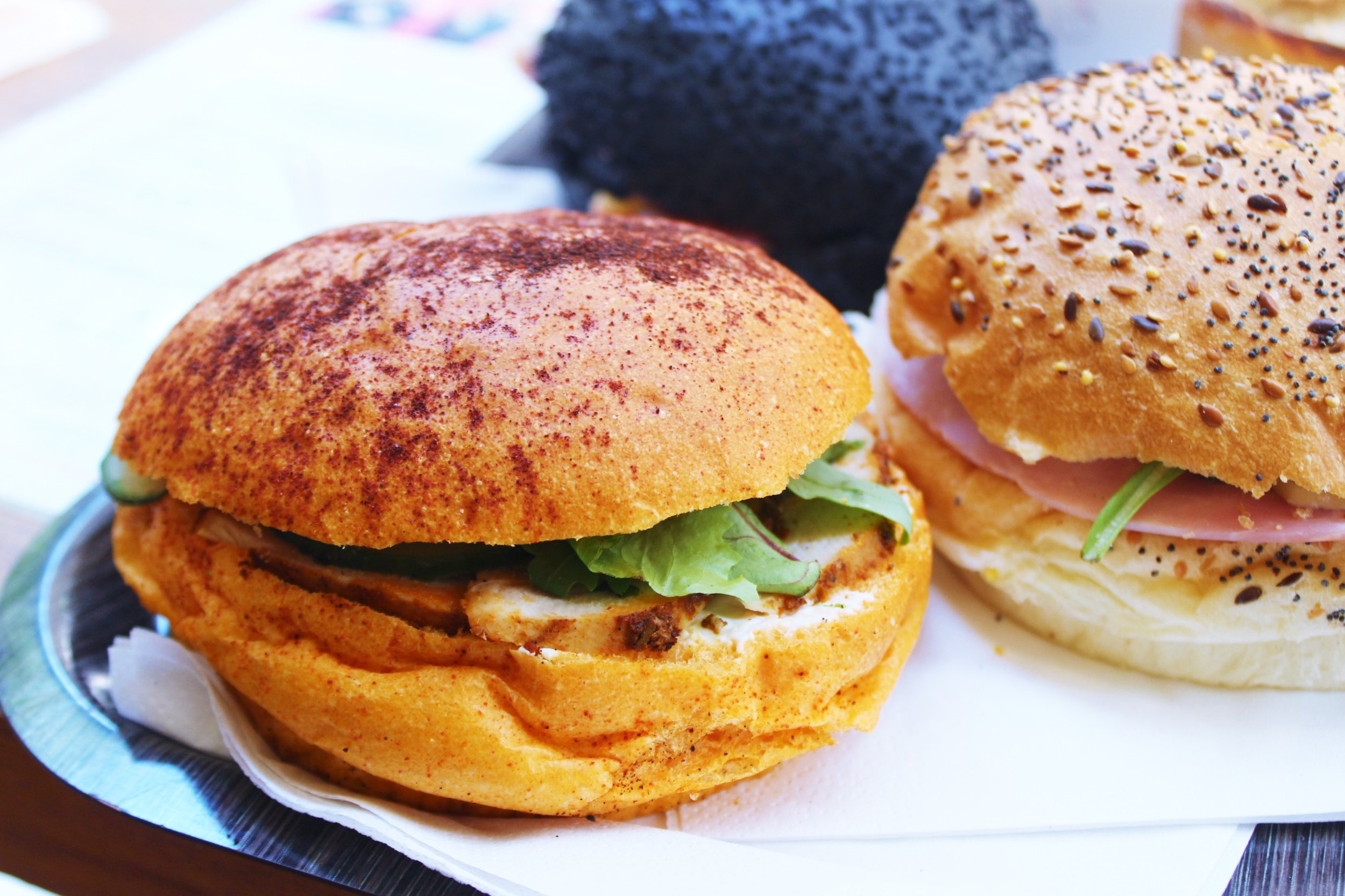 Tandoori Chicken Sandwich with Paprika Bread at Gontran Cherrier in Paris