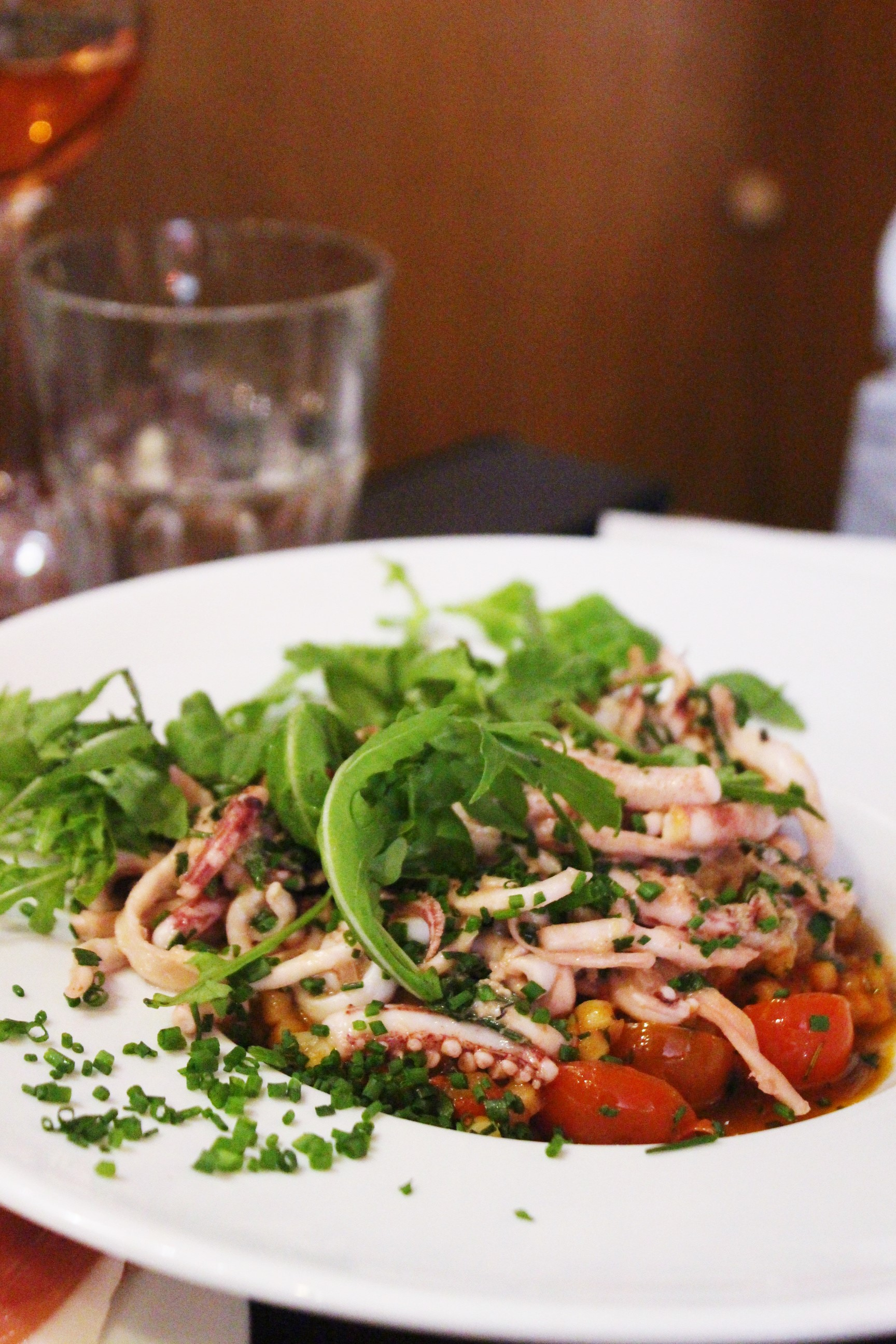 Calamari With Parsley, Ginger & Sesame; Sardinian Fregola With Cherry Tomatoes