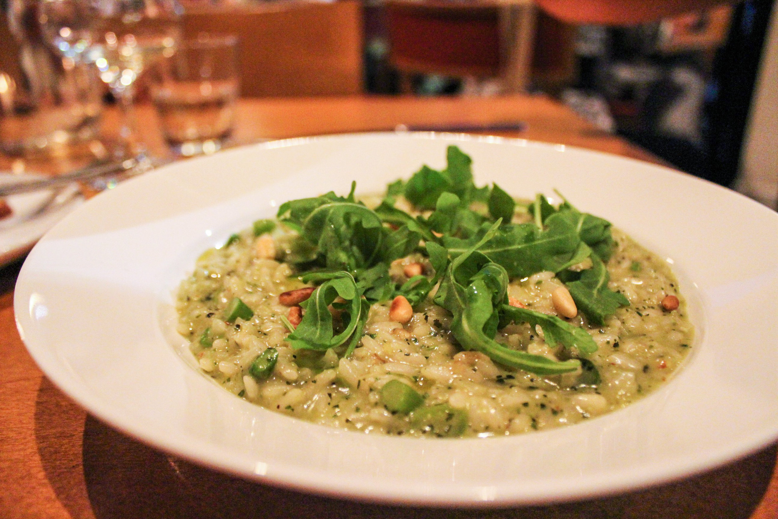 Risotto, Green Beats, Basil Pesto, and Pine Nuts