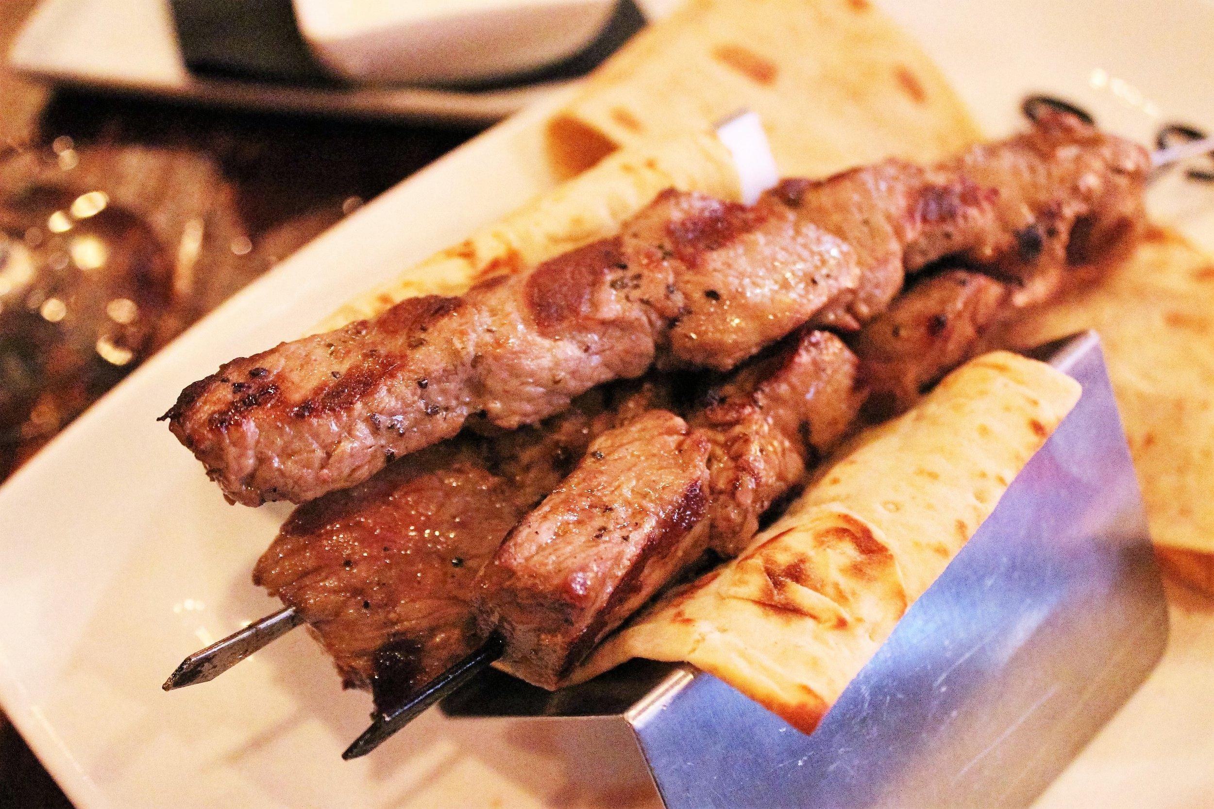 Grilled Brochette: Ribeye on skewers with Herb Dip and Yogurt Dip at Balzem