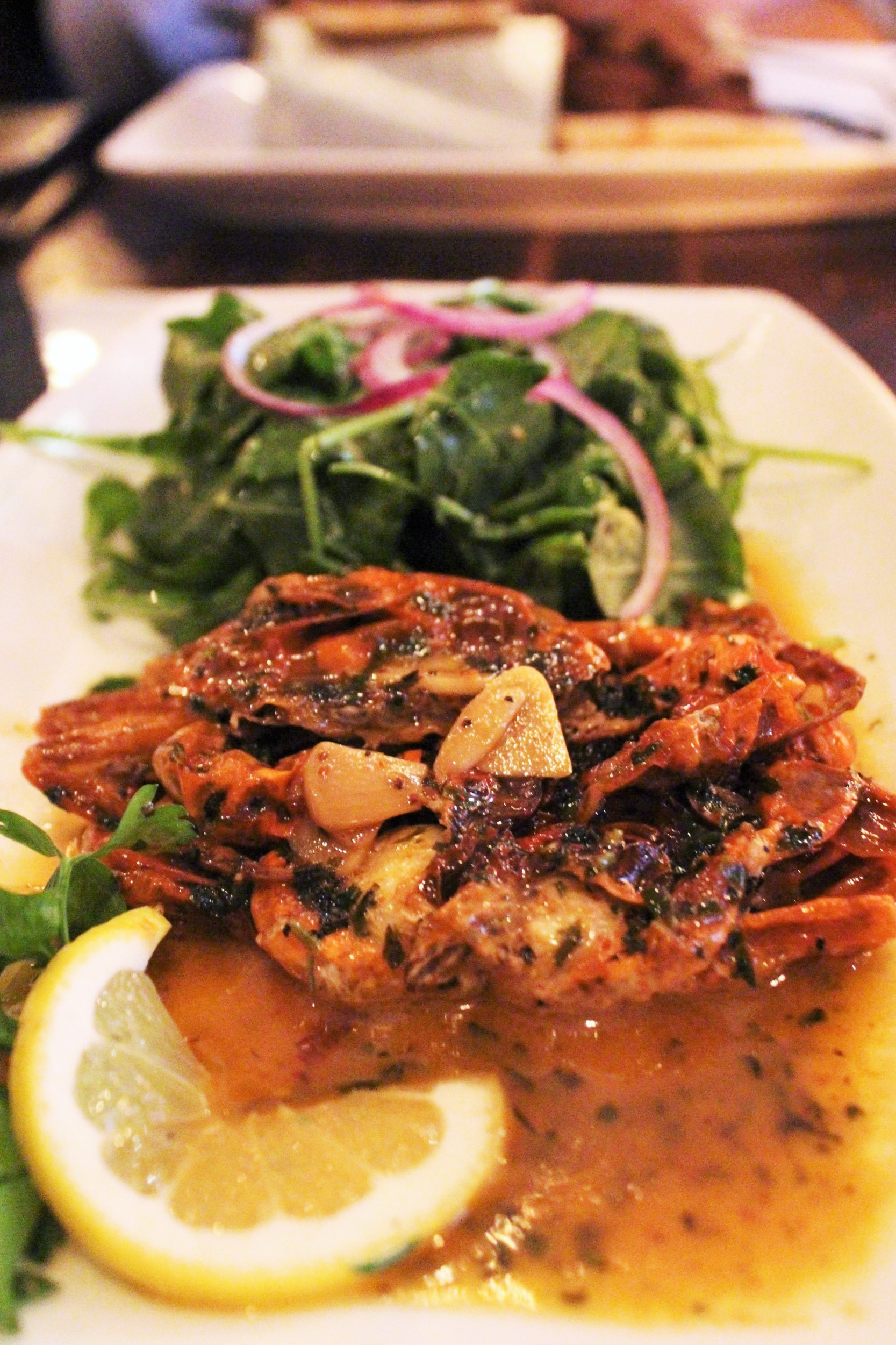Soft Shell Crab with Butter, Wine, Arugula at Balzem