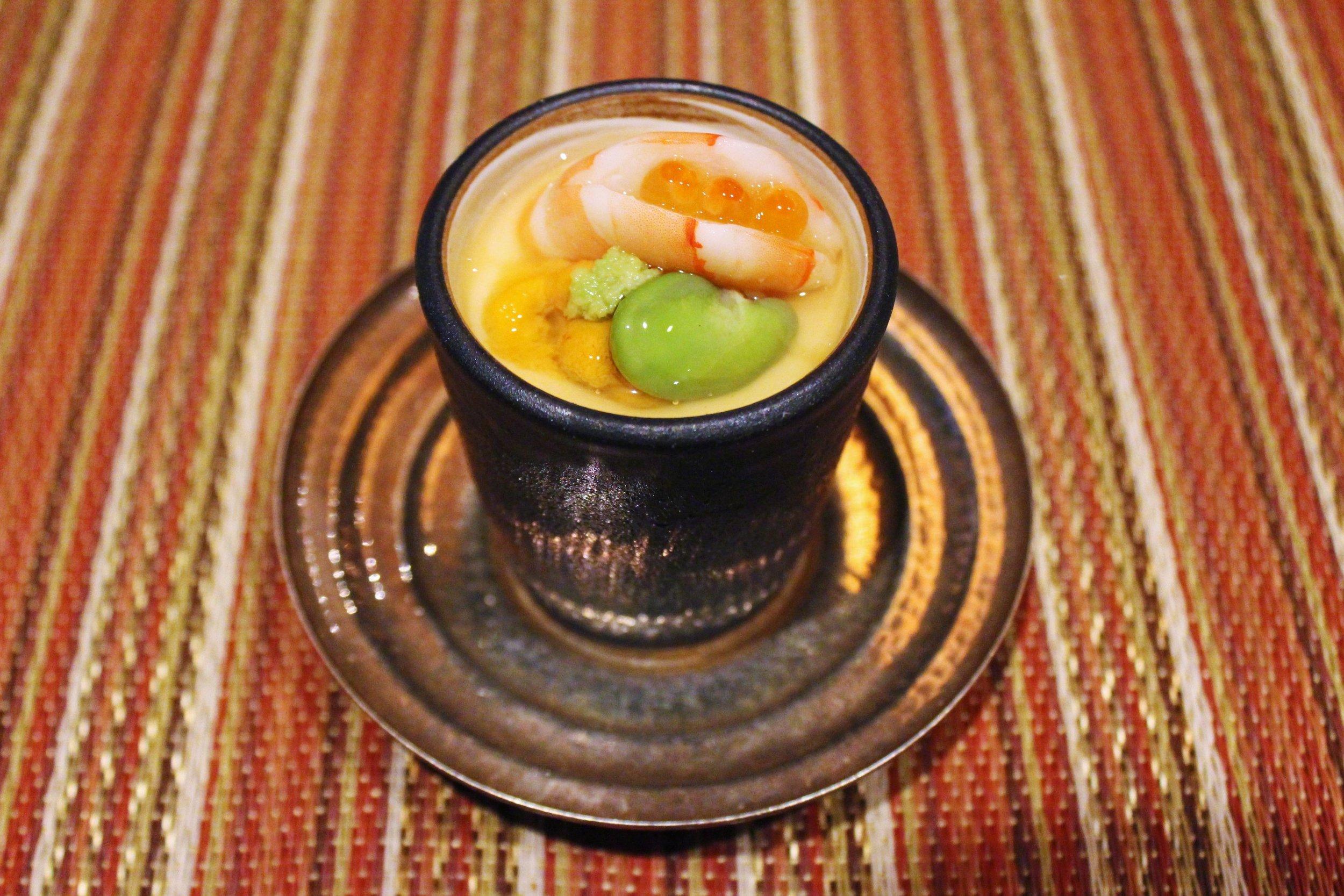 """""""Sakizuke"""" Second Course: Chilled Tamaji-Mushi, Shrimp, Uni, Lima Bean, and Gin-an"""