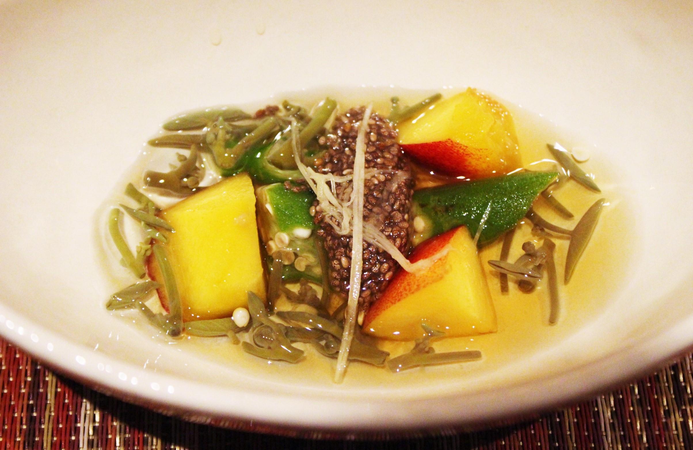 """Tomezakana"" Eighth Course: Junsai Fresh Water Shield, Okura, and Nectarine with Chia Seed Vinegar"