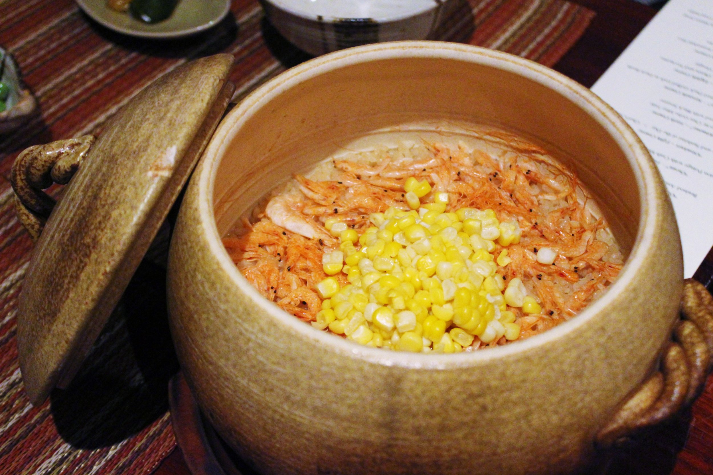 """Oshokuji"" Ninth Course: Sakura Shrimp and Peter Corn Kamadaki Rice with Red Miso Soup and Pickles"