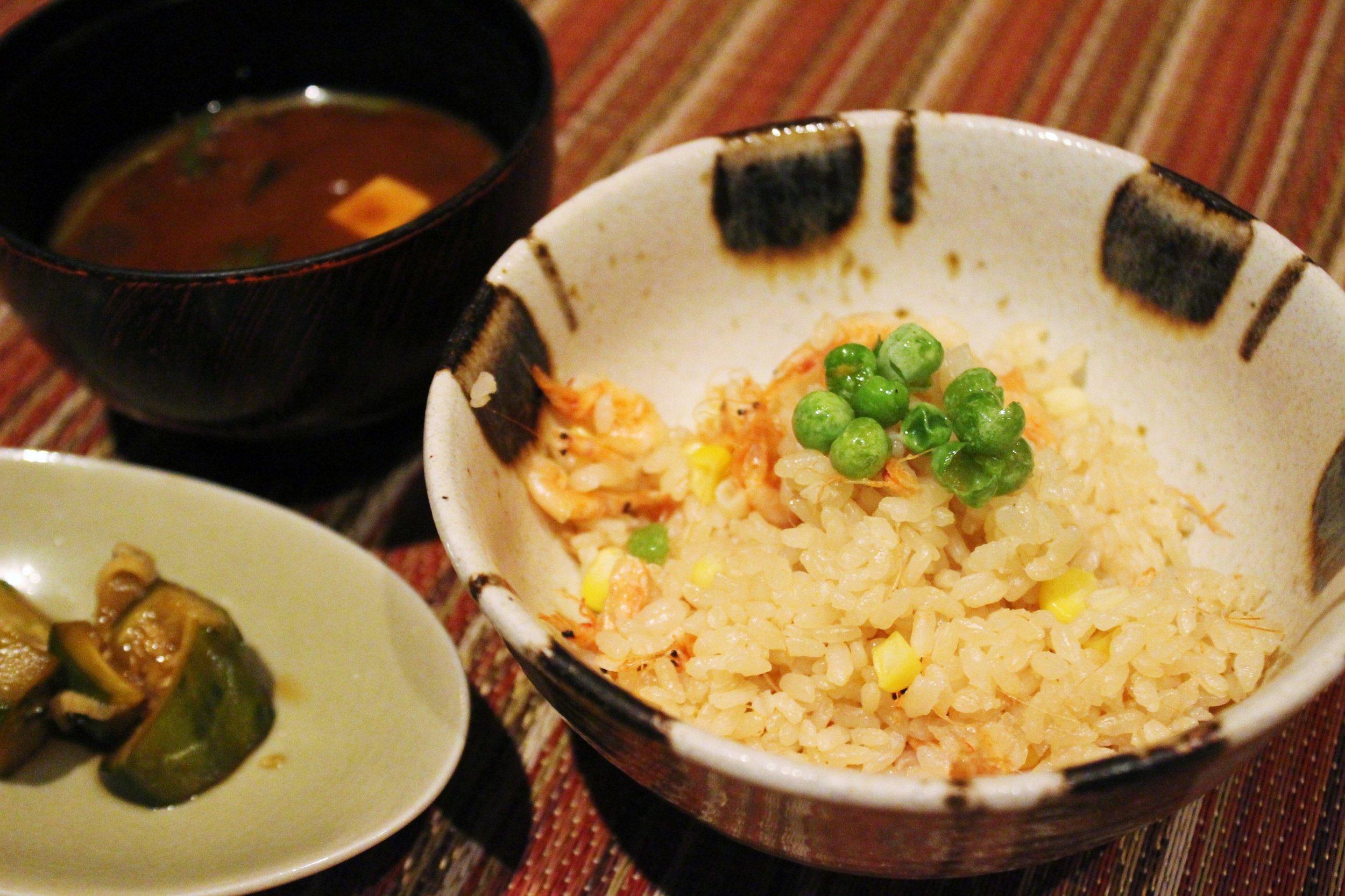 """Oshokuji"" Ninth Course: Sakura Shrimp and Peter Corn Kamadaki Rice with Red Miso Soup and Pickles"
