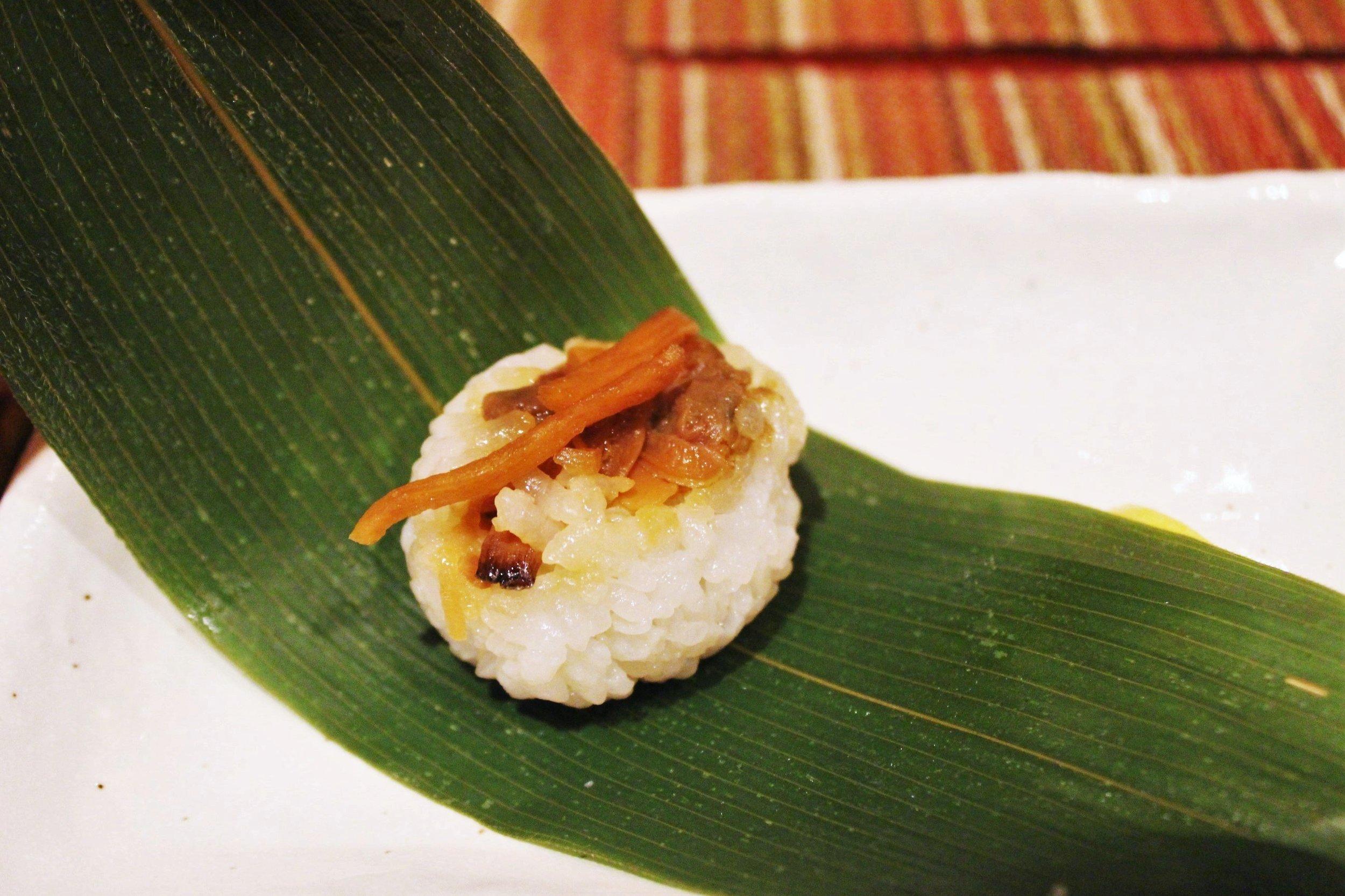 """Oshinogi"" Third Course: Braised Asari Little Neck Clam Sushi at Kyo Ya"