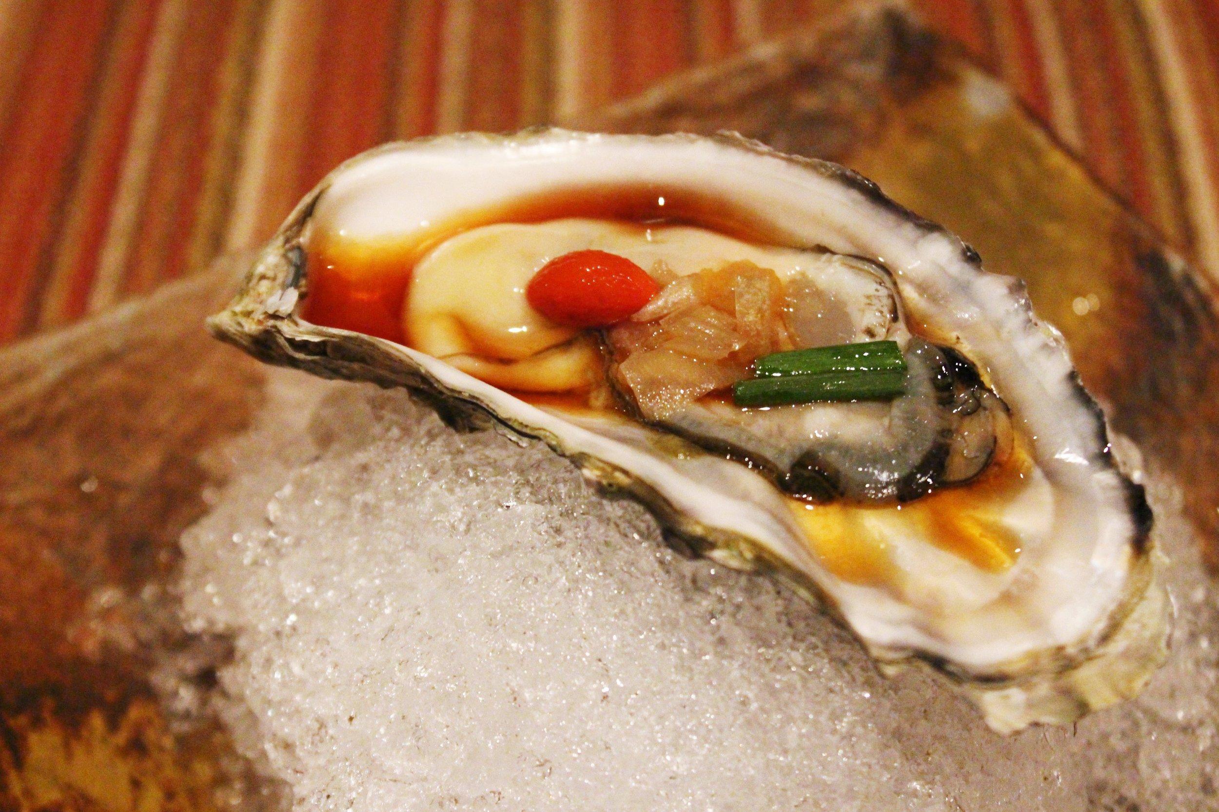 Fresh North Bay Oysters with Onion, Ponzu Sauce, and Goji Berry at Kyo Ya