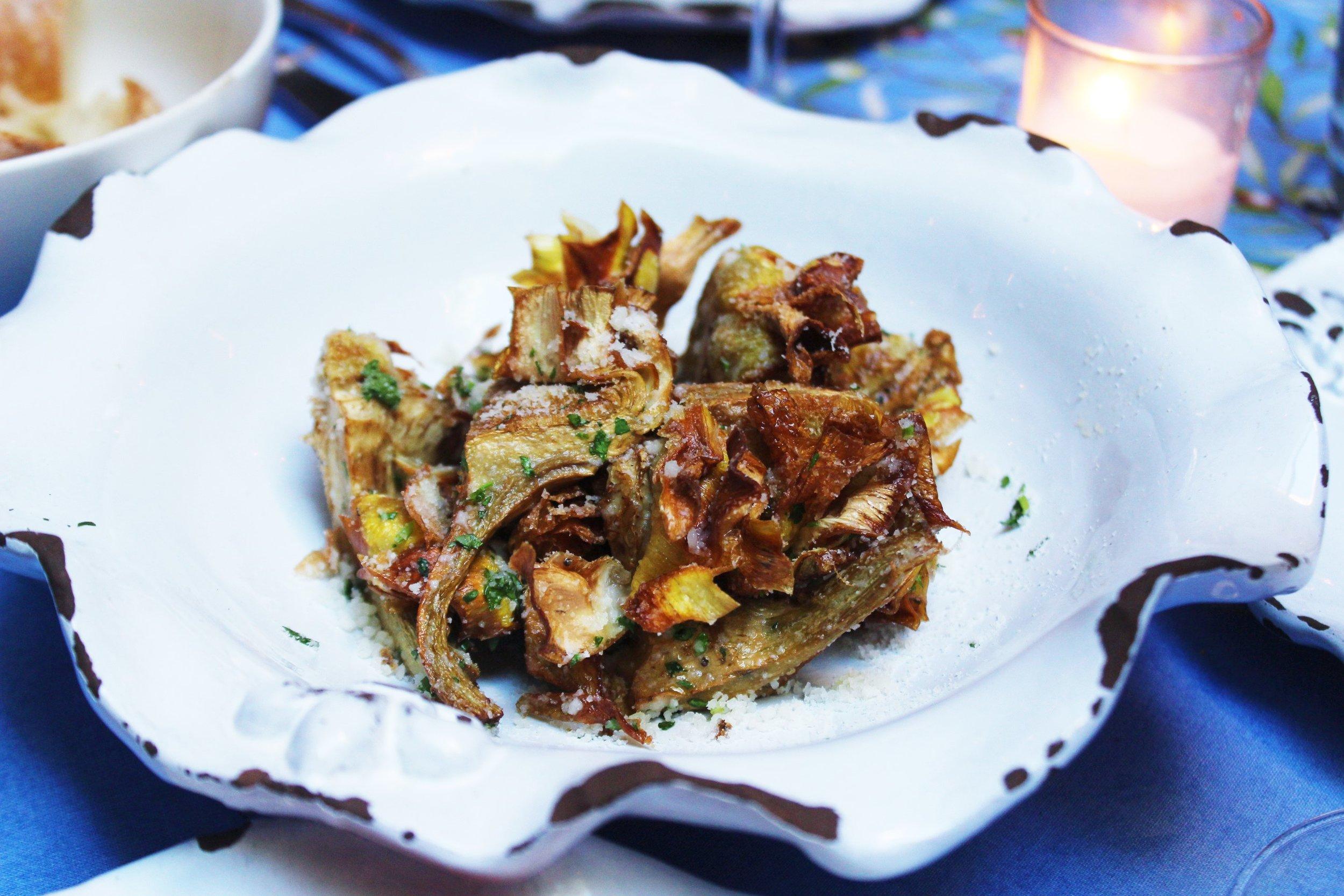 Carciofi Croccanti Crispy Baby Artichoke Hearts With Parmigiano And Parsley