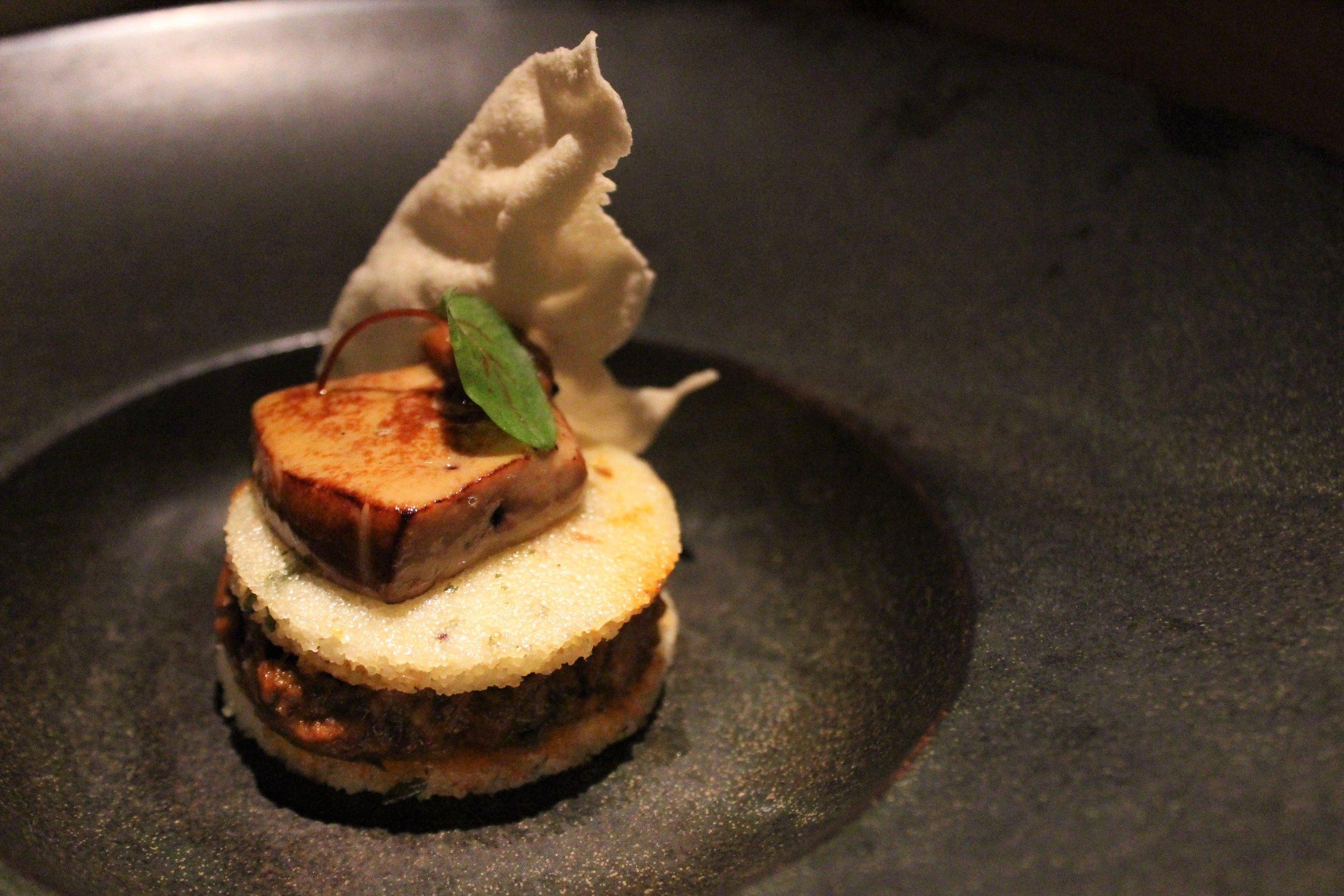 Duck Chettinad, Foie Gras, Idli, Pearl Onion Chutney