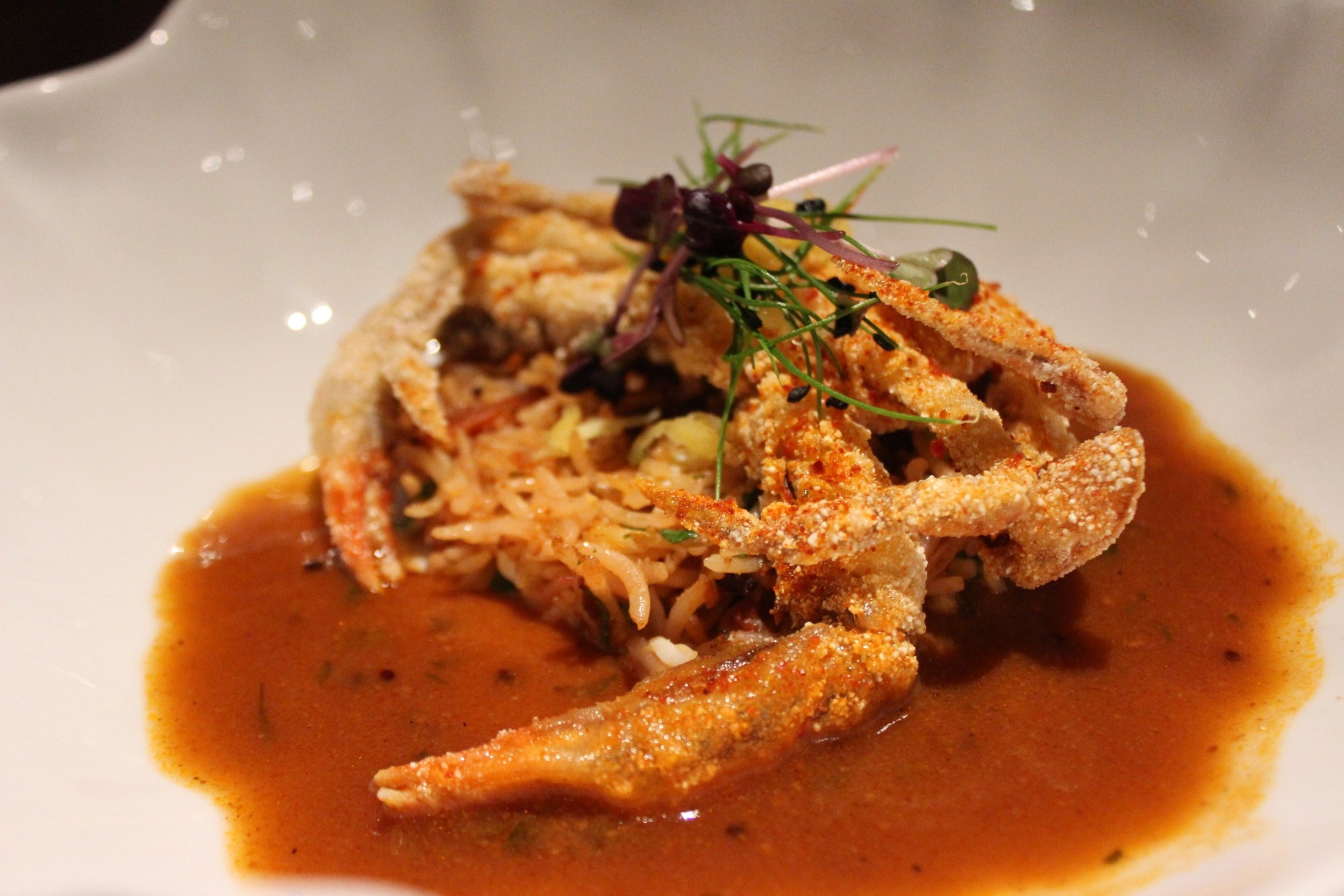 Soft-Shell Crab Koliwada, Malvani Dried Shrimp Pulao