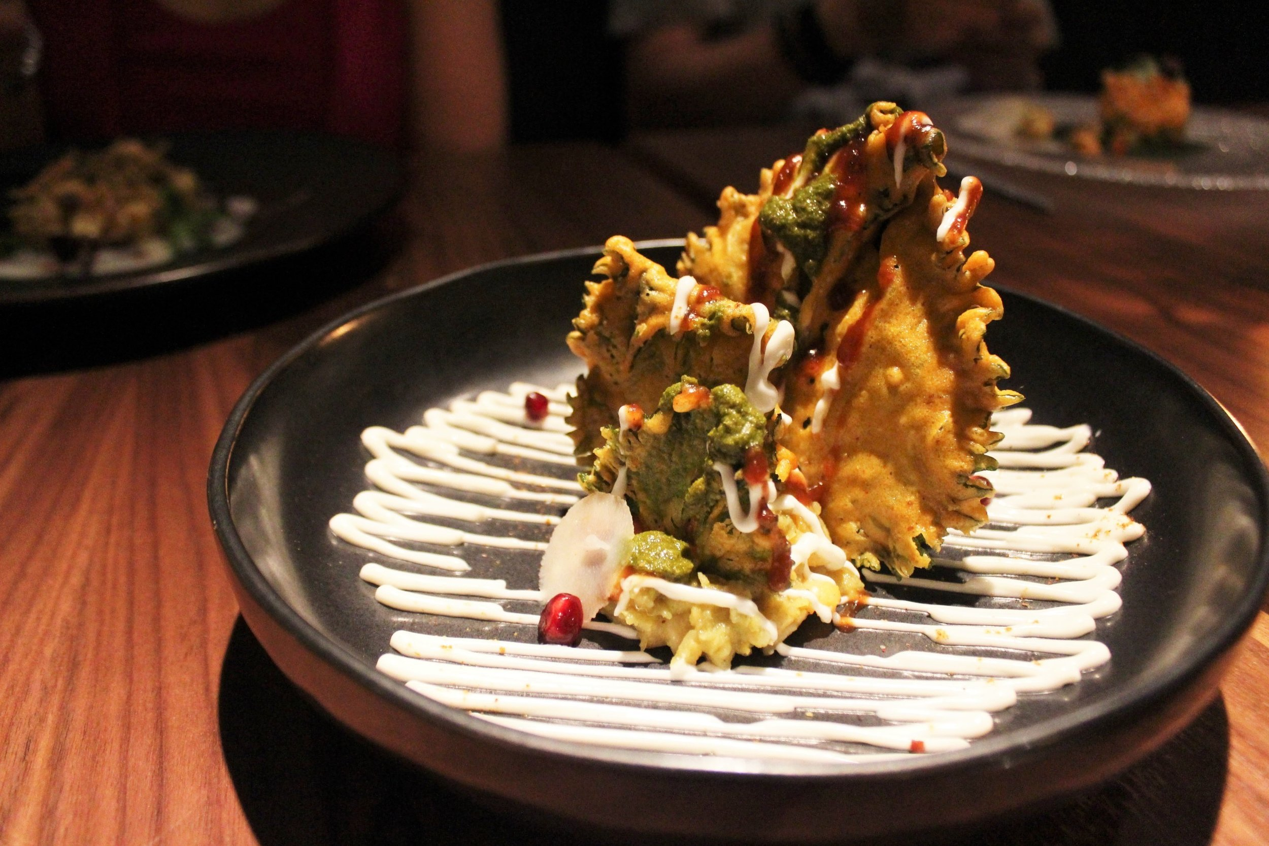 Shiso Leaf Chaat, Water Chestnuts at Indian Accent