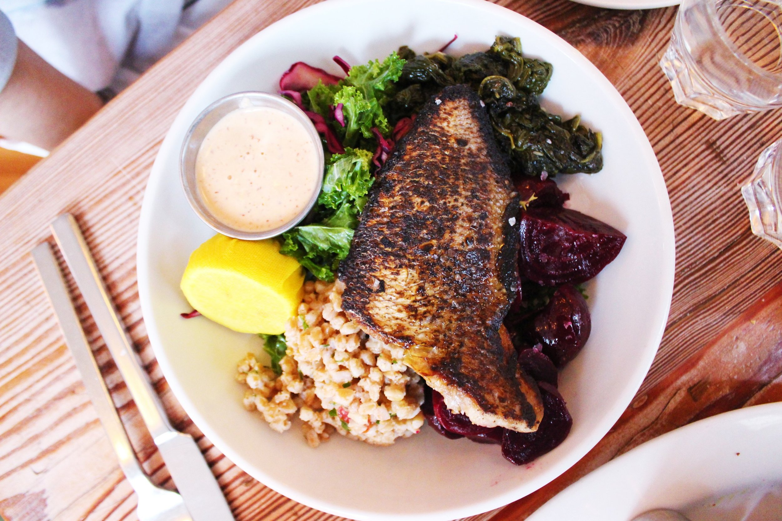 Porgy with Harissa Cashew Sauce with three sides (Sauteed Spinach with Garlic, Farro with Olives & Cherry Tomatoes, Roasted & Pickled Beets)