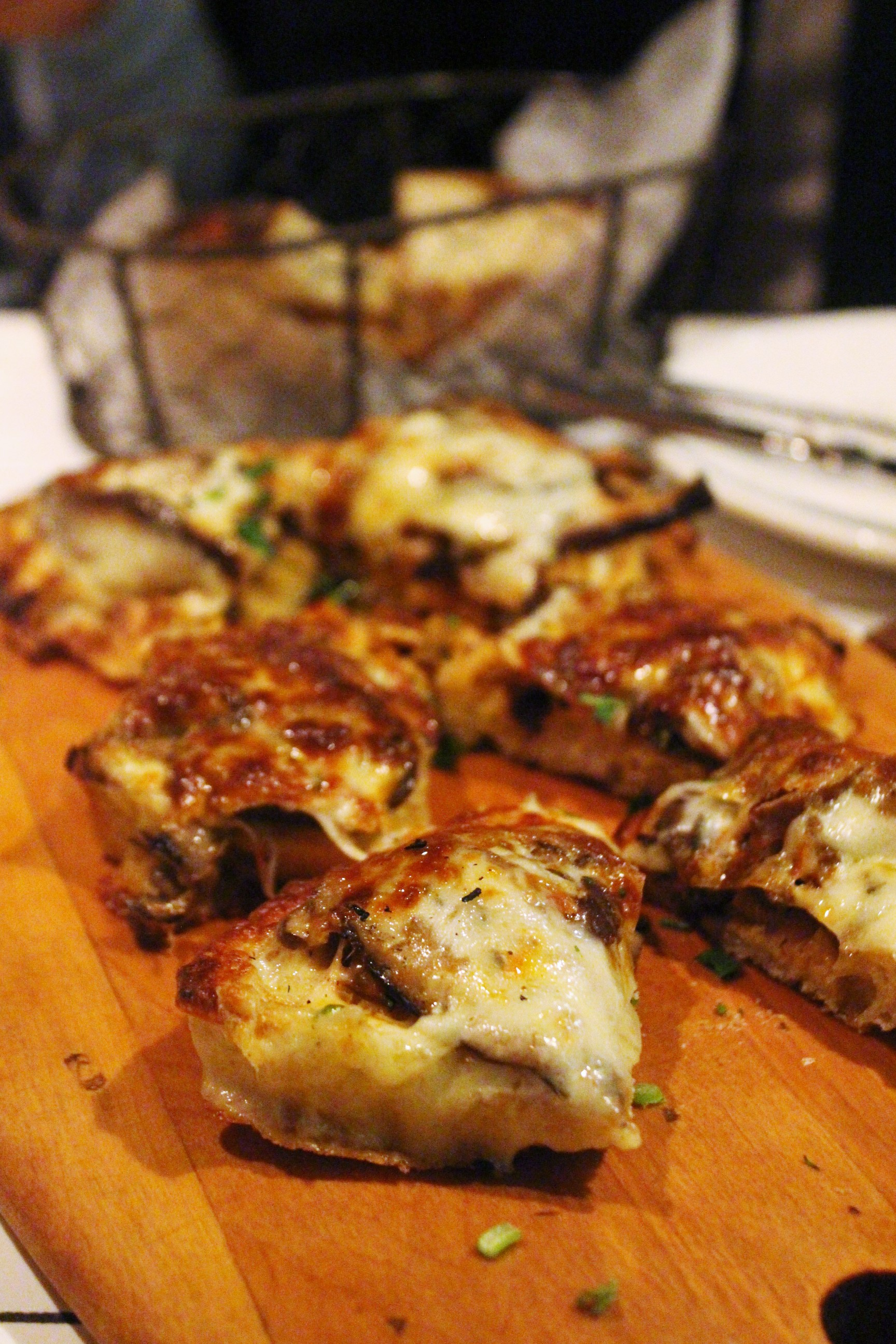 Bruschetta Funghi e Montasio: Mushroom Bruschetta with Montasio Cheese