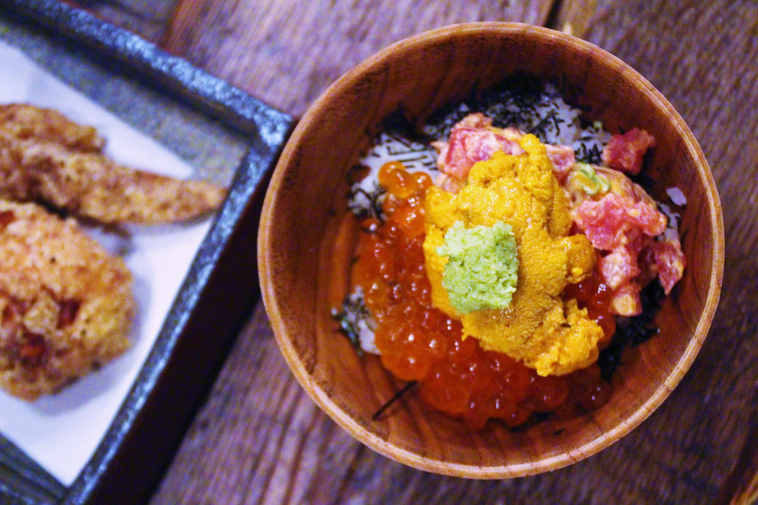 U&I: Uni, Spicy Maguro, Ikura, Sushi Rice, Sesame, Roasted Nori, and Wasabi