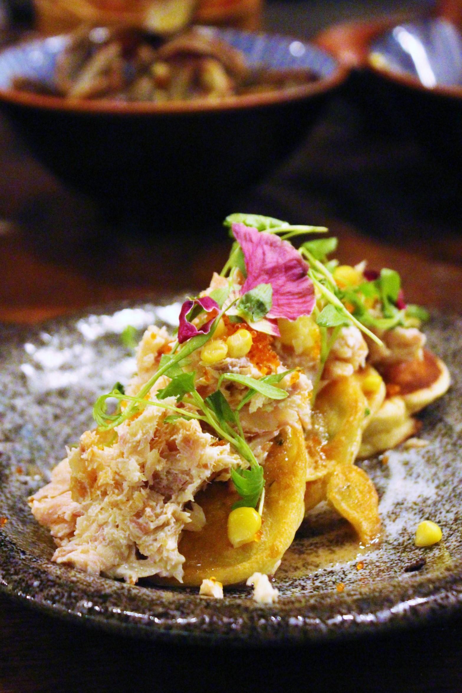 Okonomiyaki: Scallion and Corn Mean Pancake, Smoked Trout, Tobico, and Foie Maple Syrup