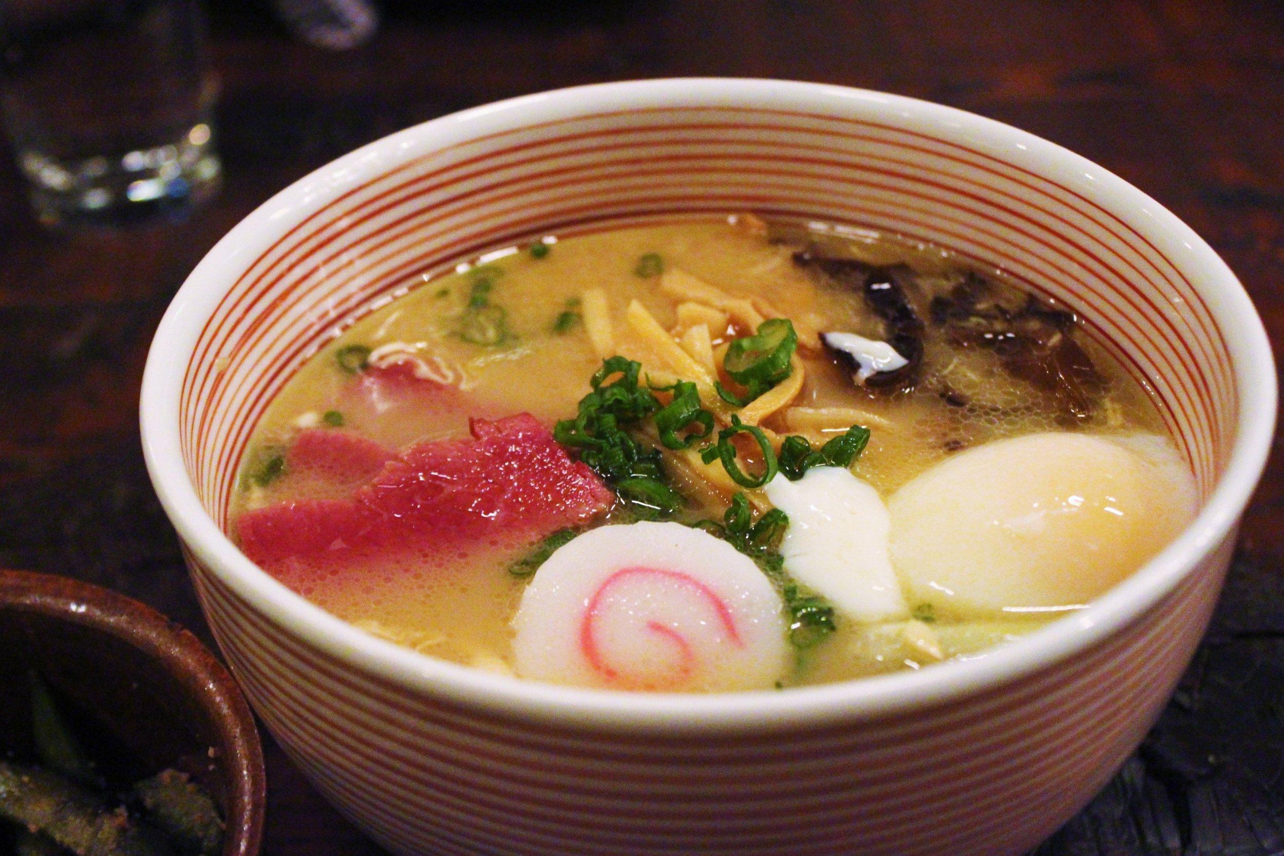 Mu Ramen: Oxtail and Bone Marrow Based Soup, Corned Beef