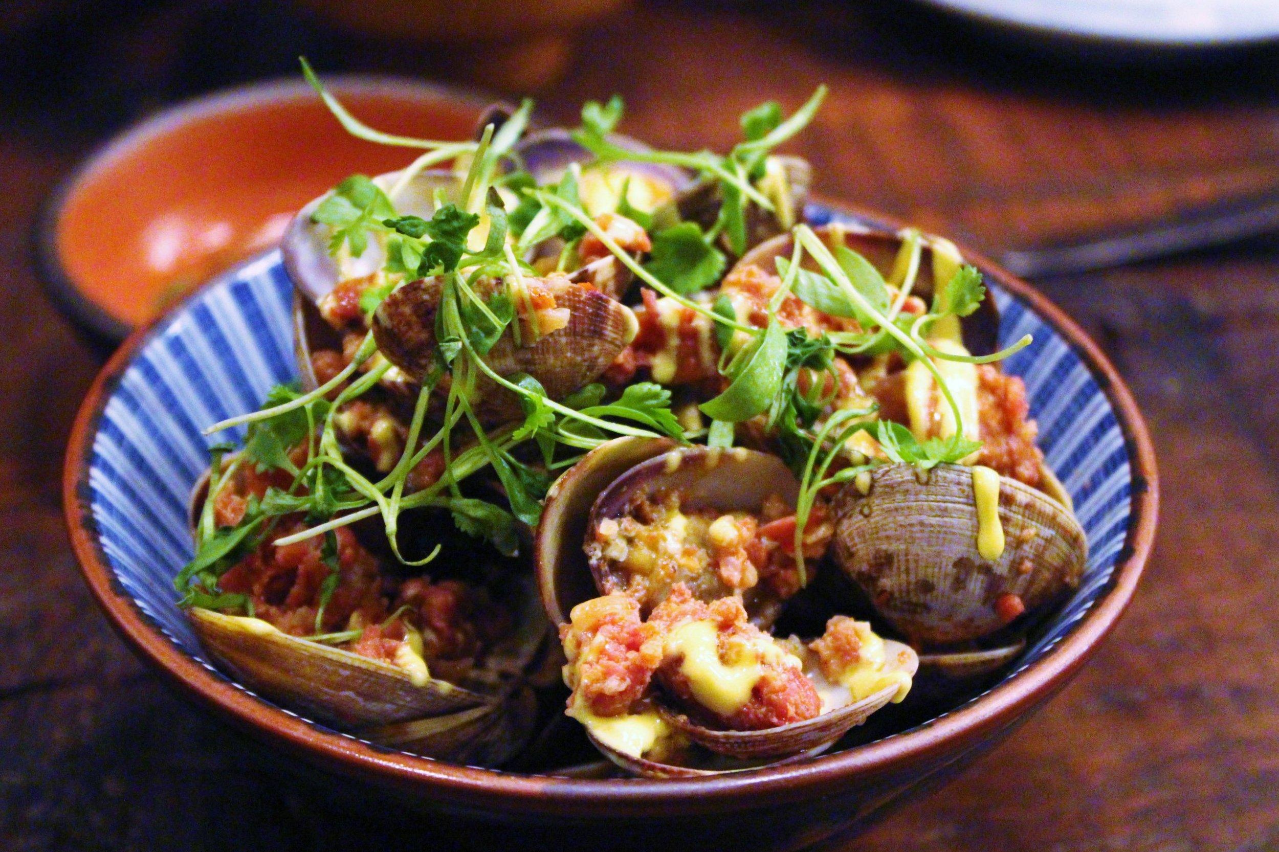 Clams: Chorizo, Garlic, Saffron Aioli, Lemon Zest, Butter with Mu Dipping Sauce at Mu Ramen