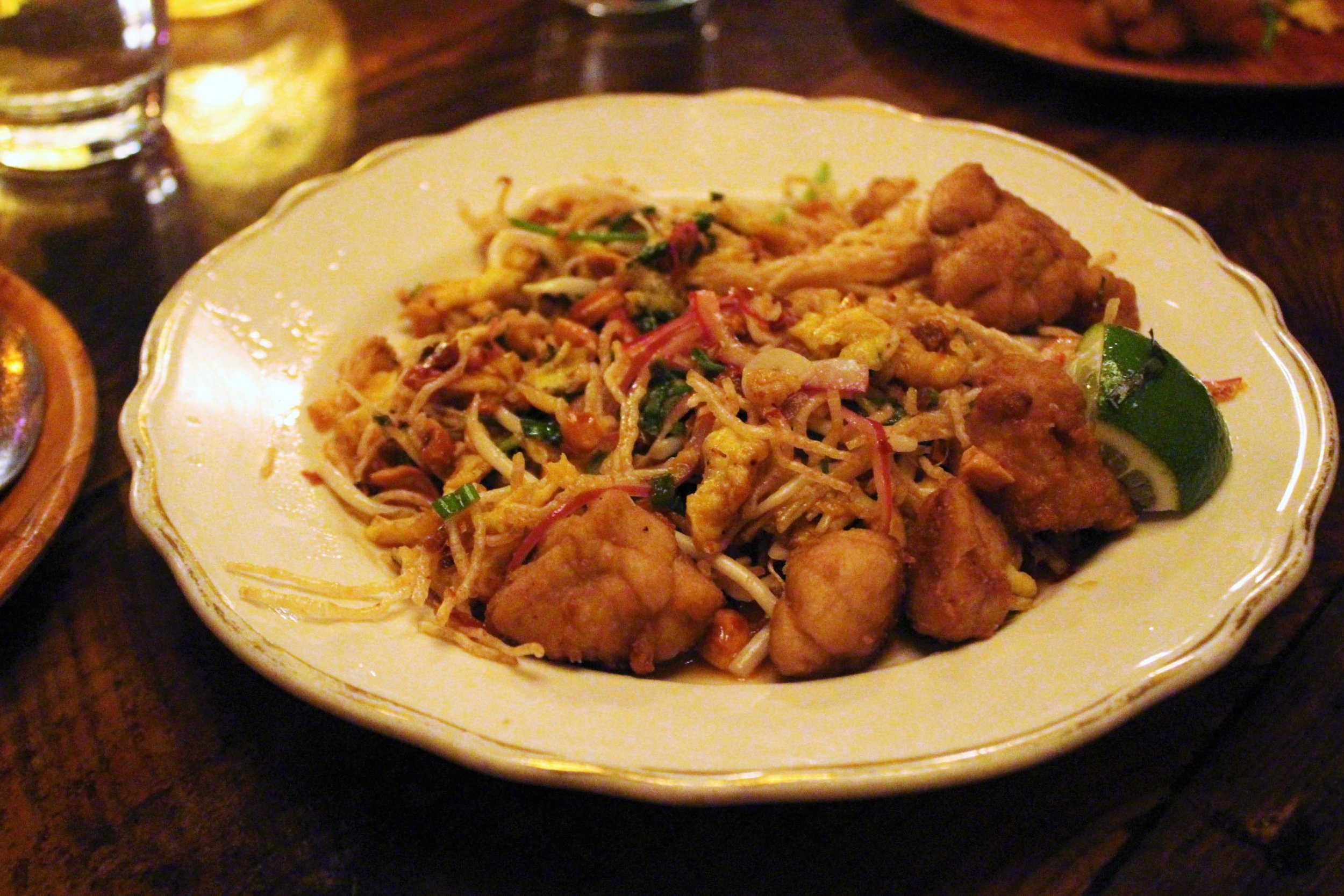 Mee Krob: Sweetbreads with Crispy Noodle Salad, Peanuts, Dried Shrimp, Egg, Sawtooth Herb, and Tamarind Sauce at Uncle Boons