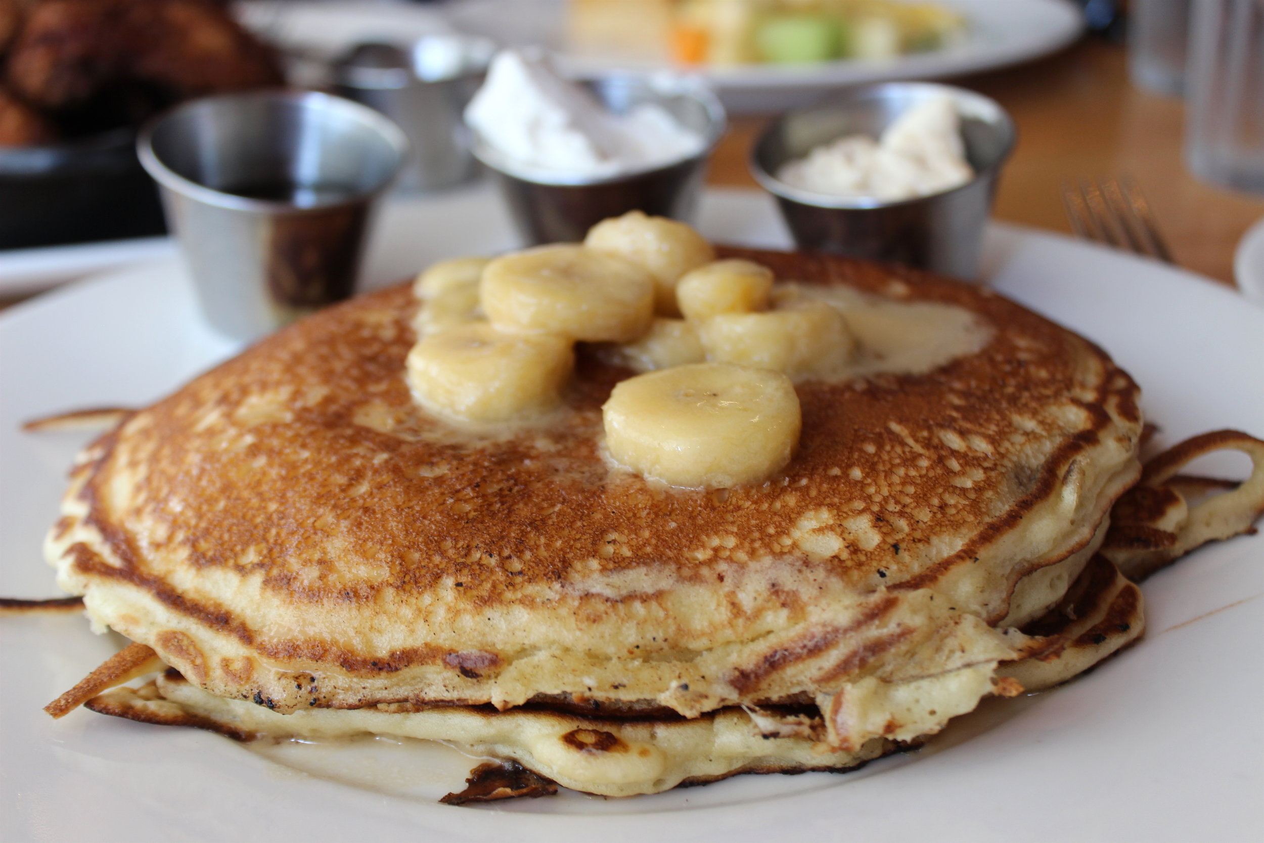 '77 Elvis Pancakes: Chocolate Chip Pancakes, Banana Compote, Bourbon Maple Syrup, Peanut Butter