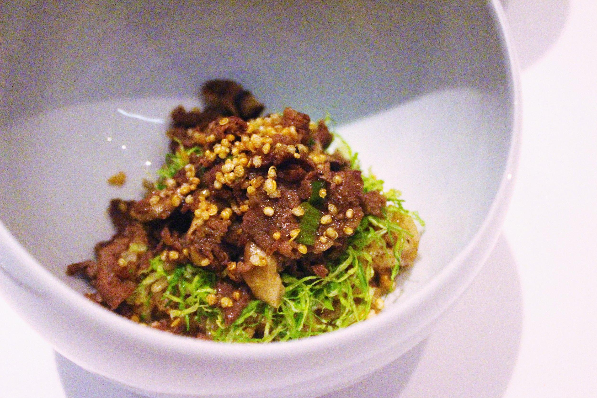 Truffle Bulgogi with White Truffle Pate and Wild Sesame at Jungsik