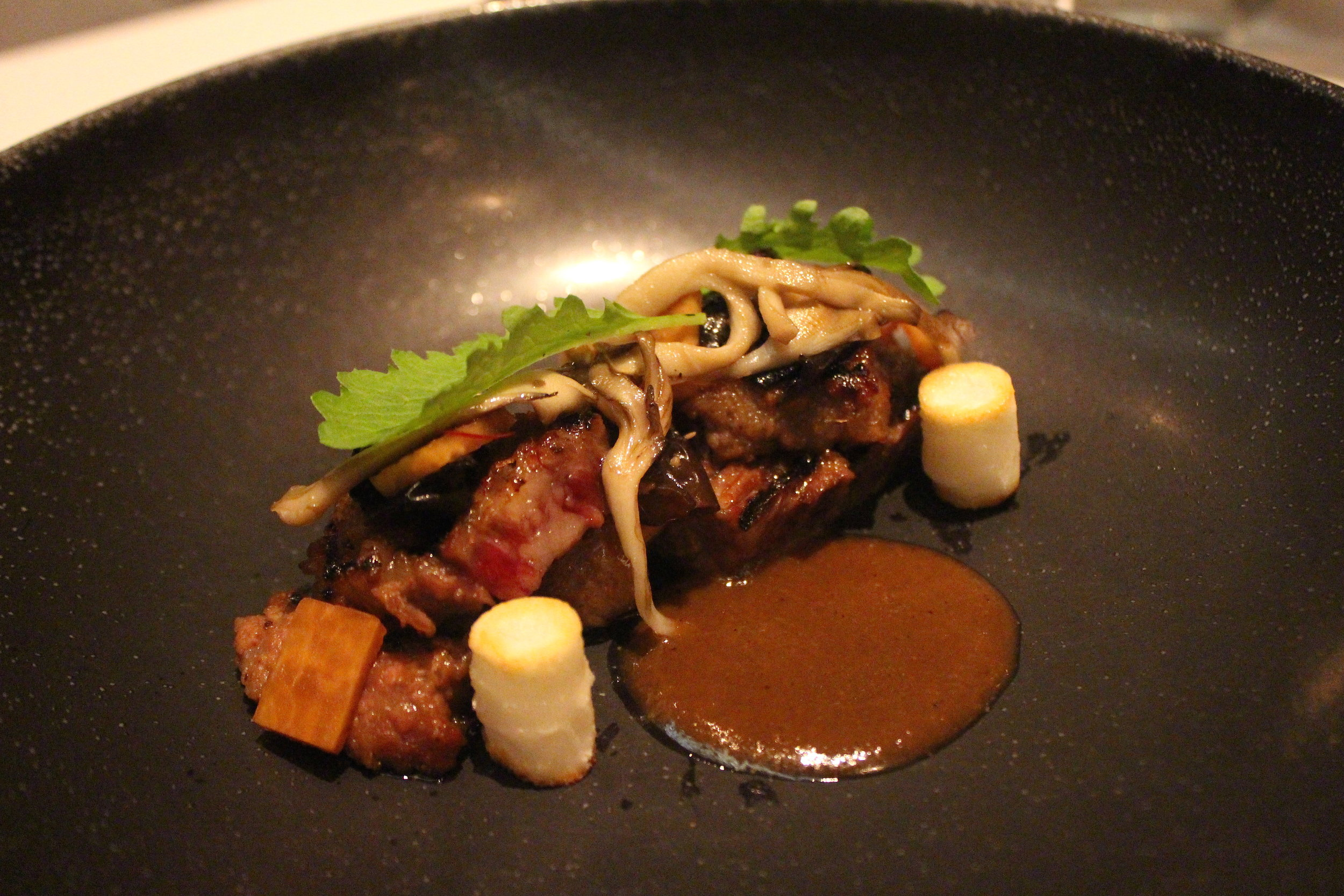 Galbi: Short Rib with Sweet Soy and Rice Cake at Jungsik