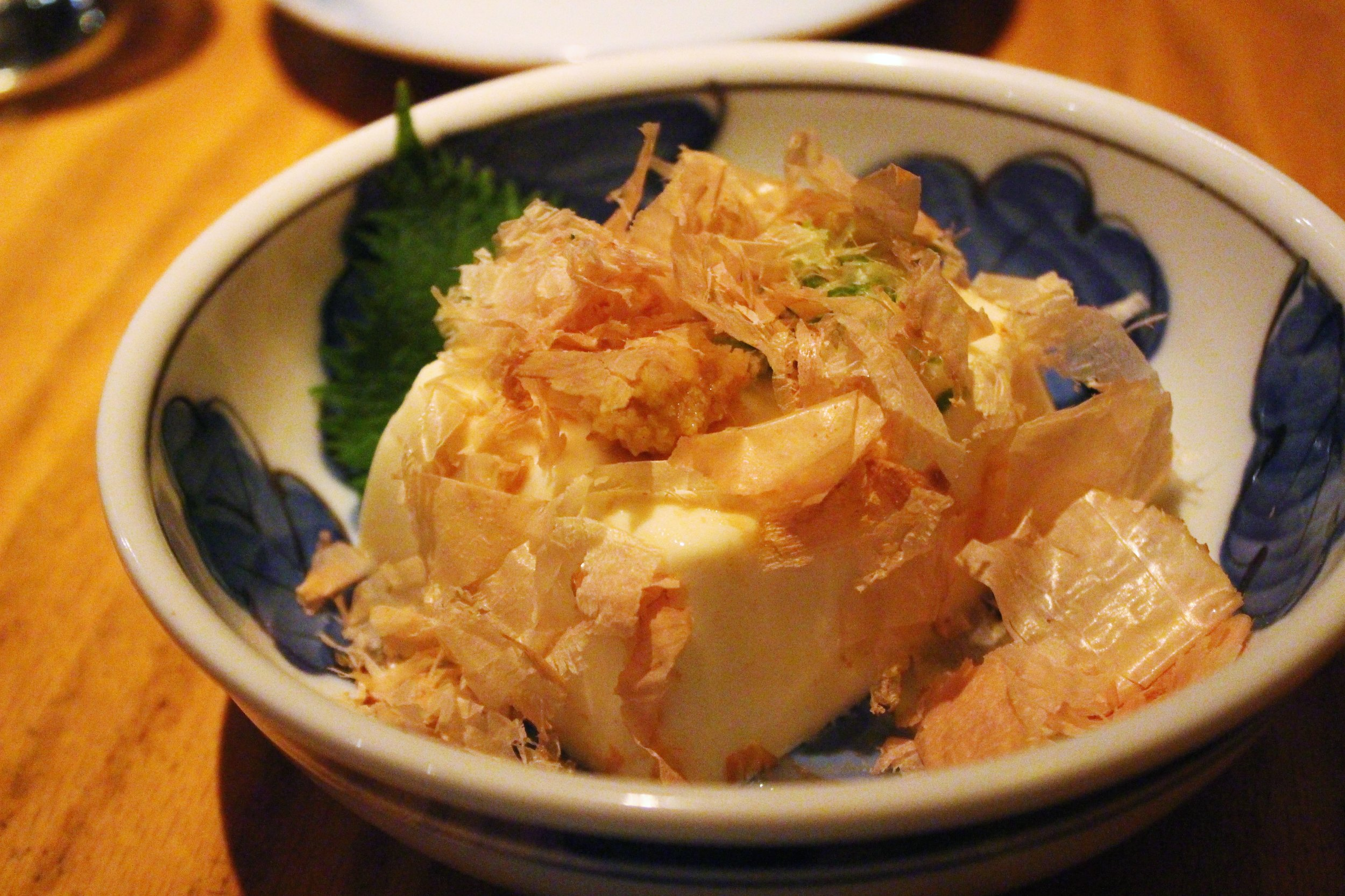 Yakko: Chilled tofu with grated ginger, scallions, and bonito flakes