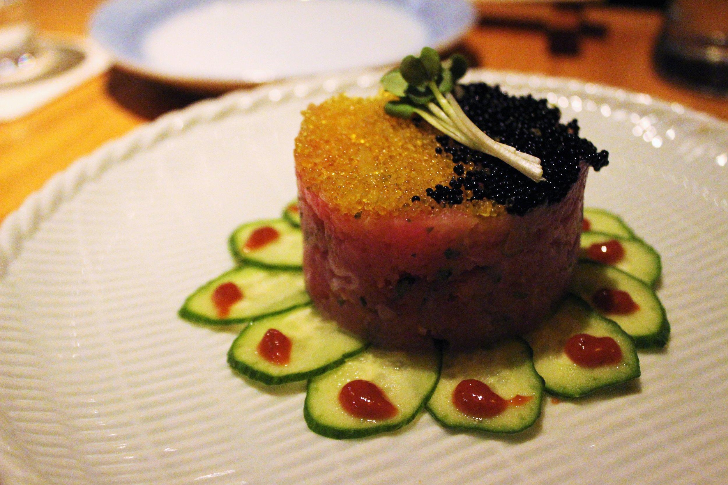 Maguro Tartar: Chopped Tuna with Flying Fish Roe and Steeped in Yuzu and Caviar at Sakagura