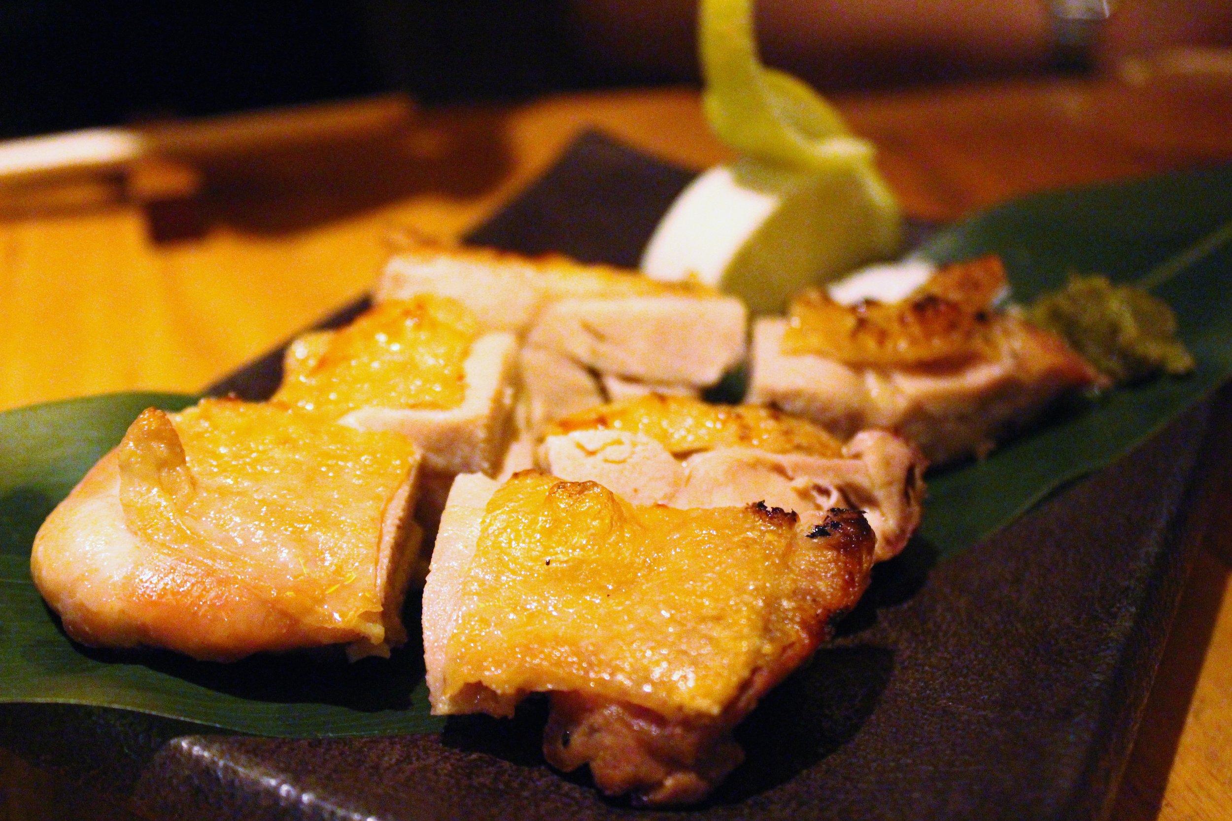 "Jidori Shioyaki: Grilled Organic Free Range Chicken Served with Sea Salt and ""Yuzu"" Citrus Pepper at Sakagura"