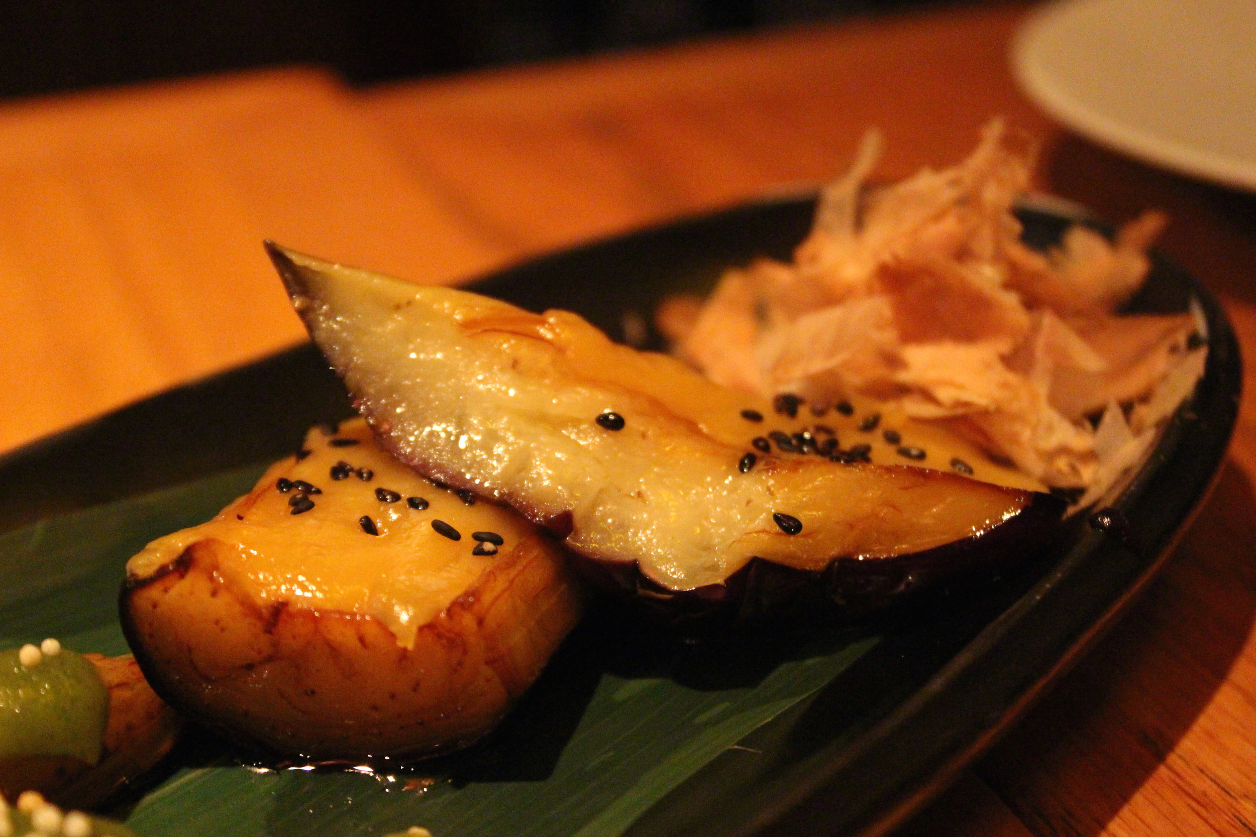 Sanshoku Nasu Dengaku: Grilled Japanese Eggplants Served with Three Kinds of Miso