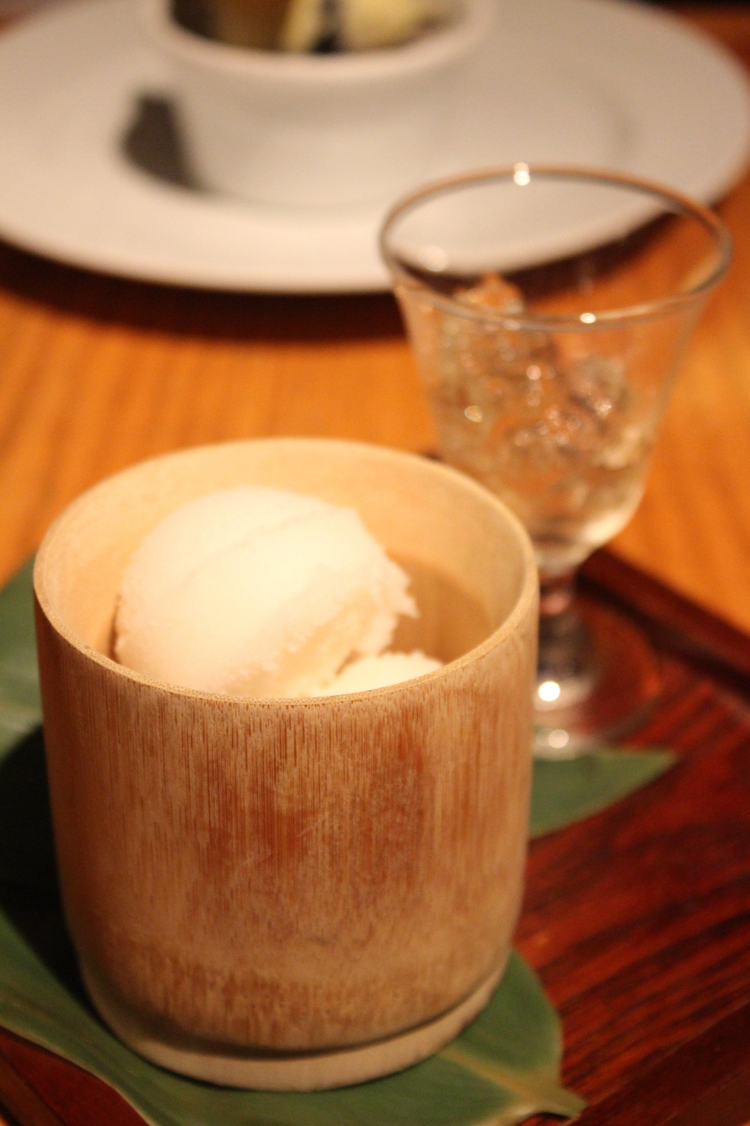 Hannya Ume Sake Sorbet Served with Ume Sake Jello. at Sakagura