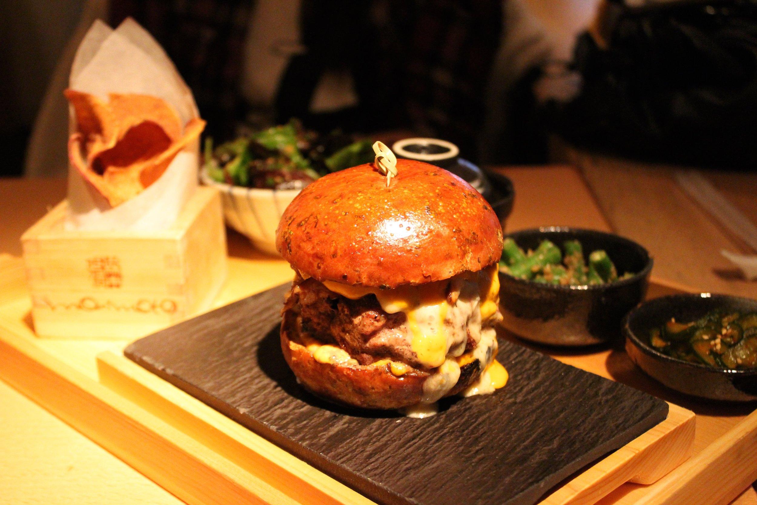 Morimoto dry aged burger at Morimoto